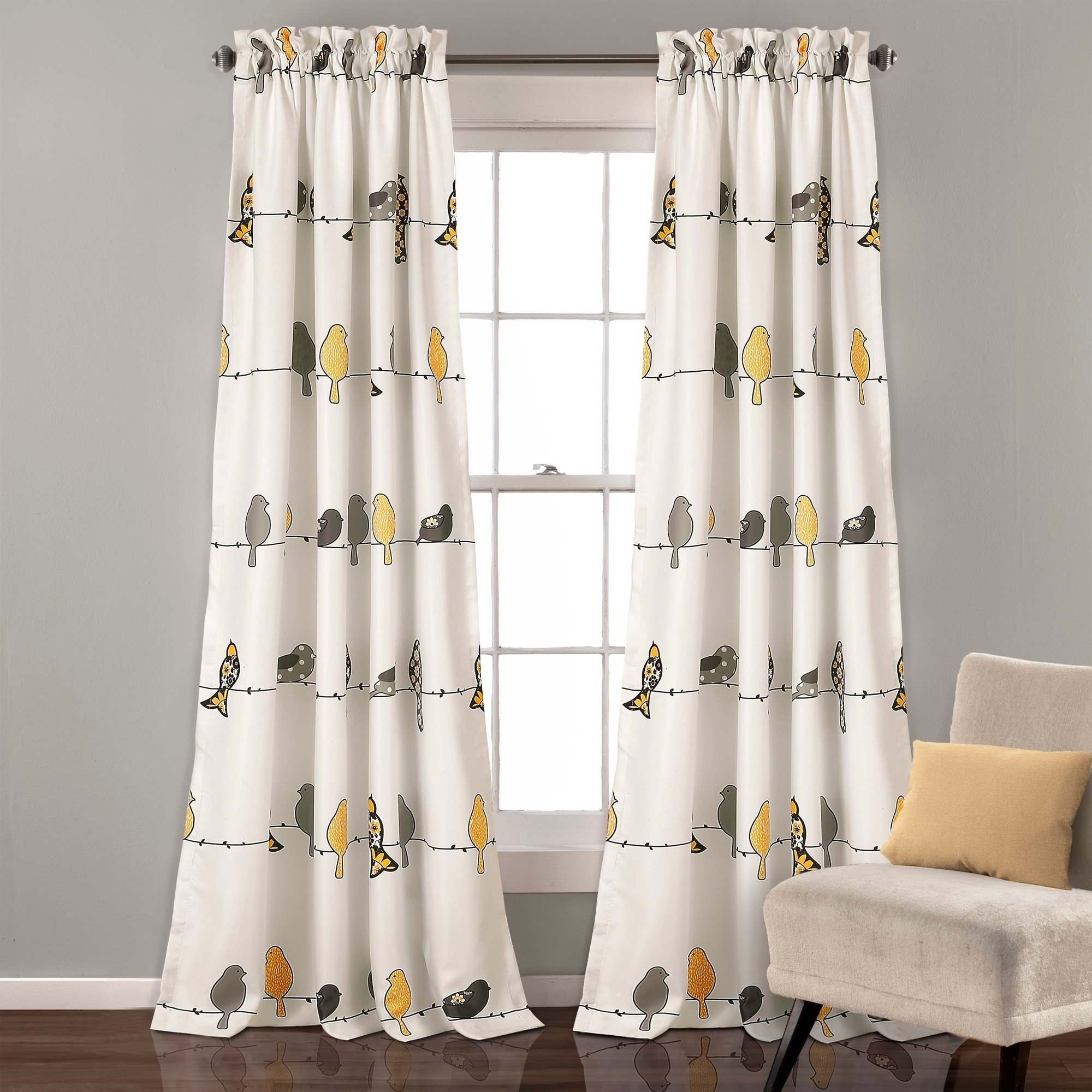 Lush Decor Rowley Birds Light Filtering Curtain Panel Pair Throughout Well Known Rowley Birds Room Darkening Curtain Panel Pairs (View 4 of 20)