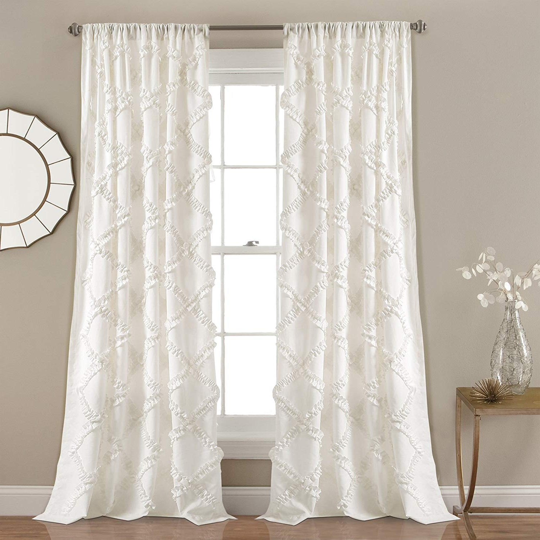 "Lush Decor Ruffle Diamond Curtains Textured Window Panel Set For Living,  Dining Room, Bedroom (Pair), 84"" X 54"", White Regarding Most Recent Ruffle Diamond Curtain Panel Pairs (Gallery 2 of 20)"