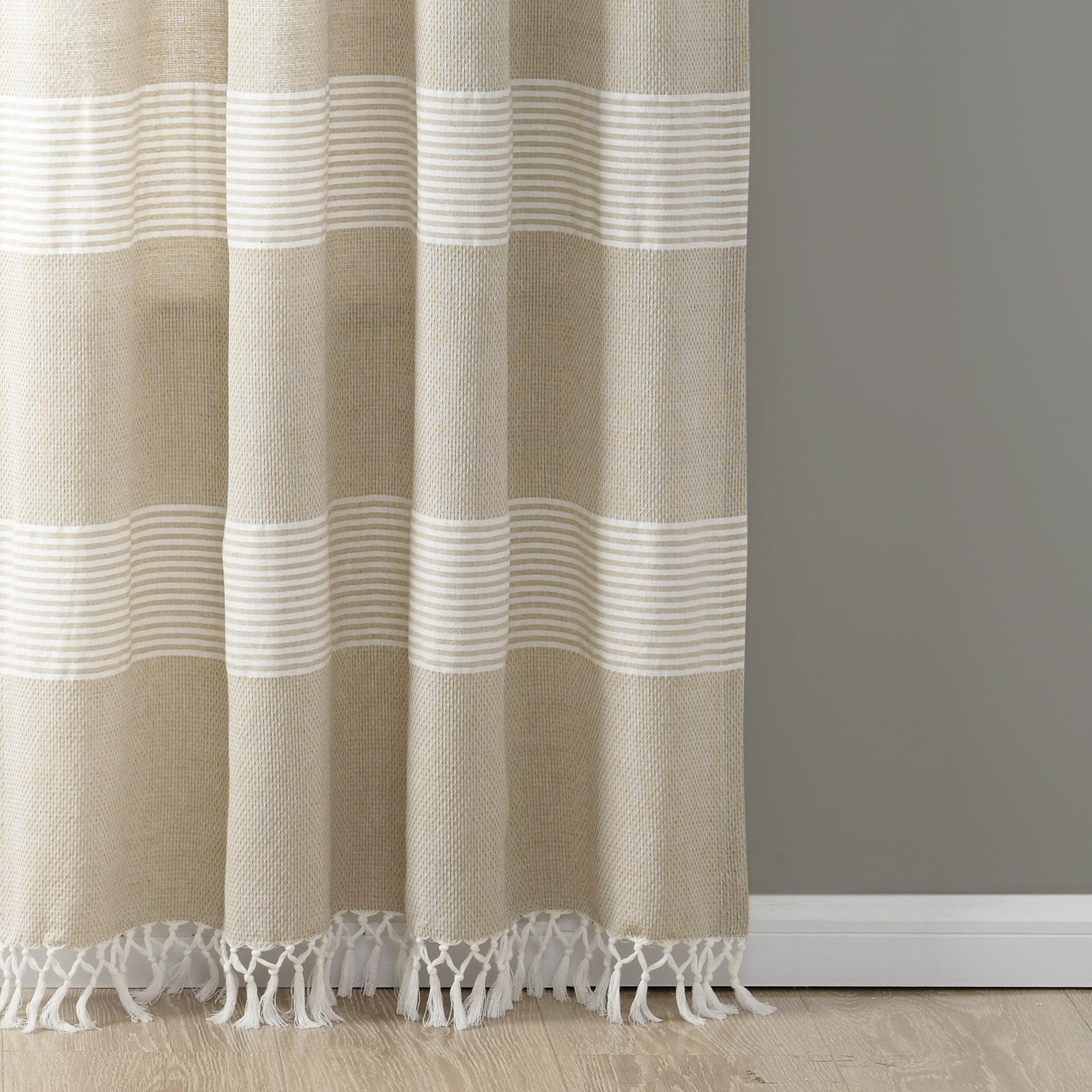 Lush Decor Tucker Stripe Yarn Dyed Cotton Knotted Tassel Window Curtain  Panel Pair Throughout Newest Ombre Stripe Yarn Dyed Cotton Window Curtain Panel Pairs (Gallery 17 of 20)