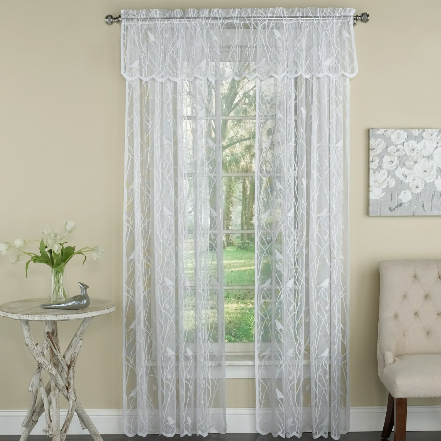 Luxurious Old World Style Lace Window Curtain Panels Inside Famous Prevatte Bird Song Lace Tier Pair Nature/floral Semi Sheer Rod Pocket  Single Window Curtain (View 7 of 20)
