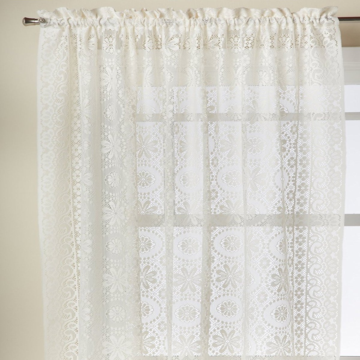 Luxurious Old World Style Lace Window Curtain Panels Regarding Most Recent Luxurious Old World Style Lace Window Curtain Panel (View 3 of 20)