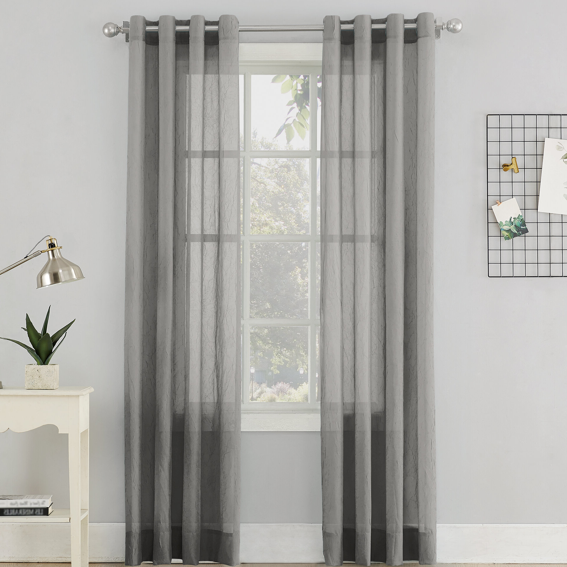 Luxury Collection Cranston Sheer Curtain Panel Pairs Regarding Well Known Erica Sheer Grommet Single Curtain Panel (View 9 of 20)