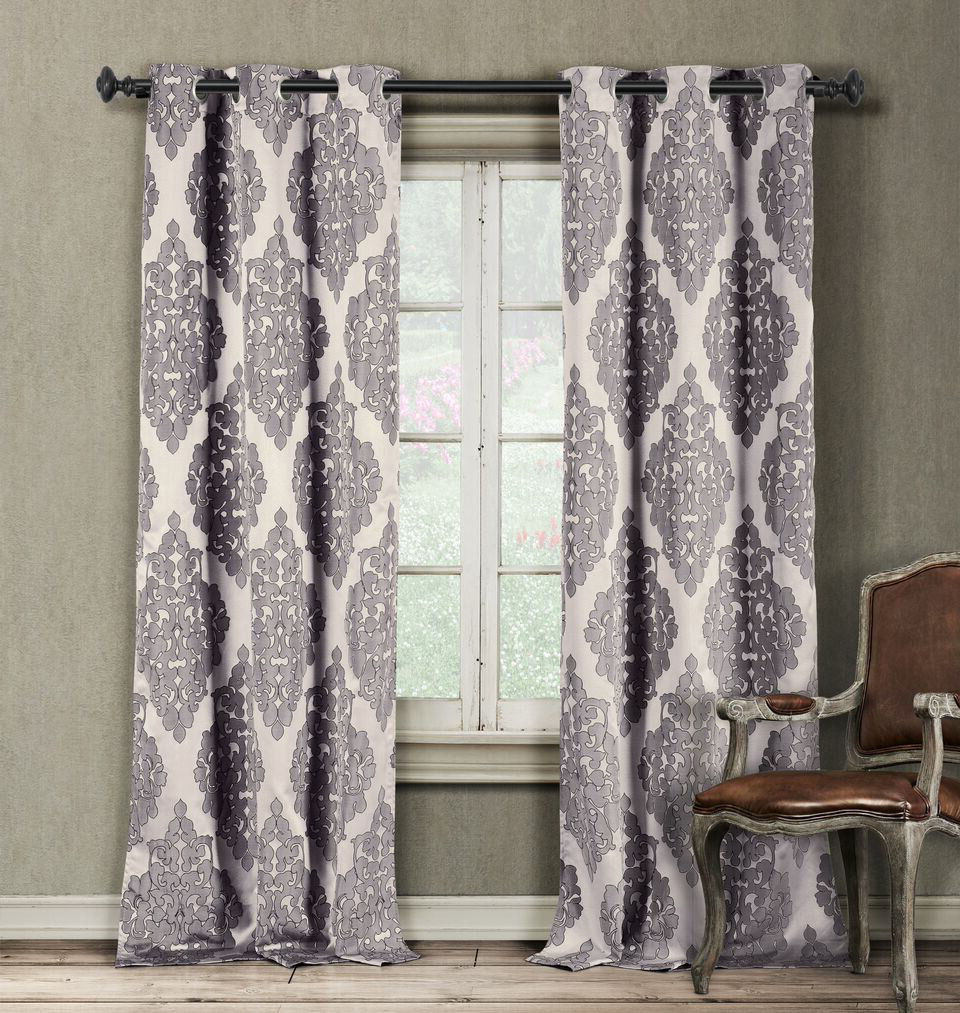 Luxury Collection Cranston Sheer Curtain Panel Pairs With Regard To Fashionable Lidiya Damask Semi Sheer Grommet Curtain Panels (Gallery 19 of 20)