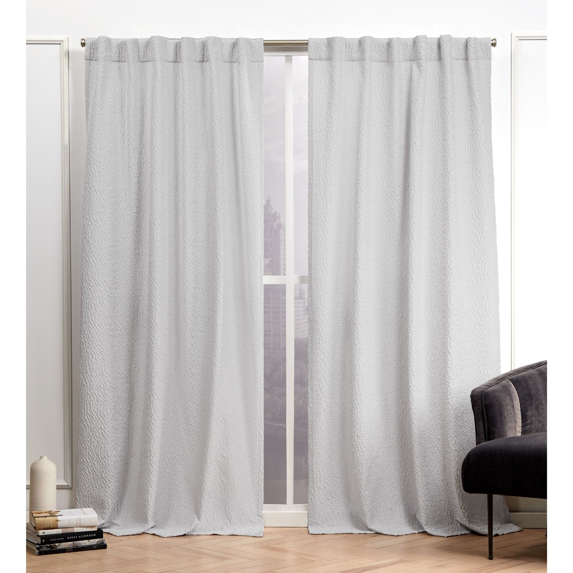 Luxury Collection Cranston Sheer Curtain Panel Pairs With Regard To Recent Nicole Miller Textured Matelassé Hidden Tab Top Sheer Panel Pair (View 5 of 20)