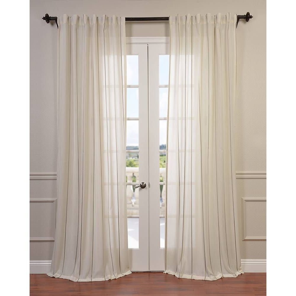 Luxury Collection Cranston Sheer Curtain Panel Pairs With Well Known Exclusive Fabrics Aruba Striped Linen Sheer Curtain Panel In (Gallery 13 of 20)