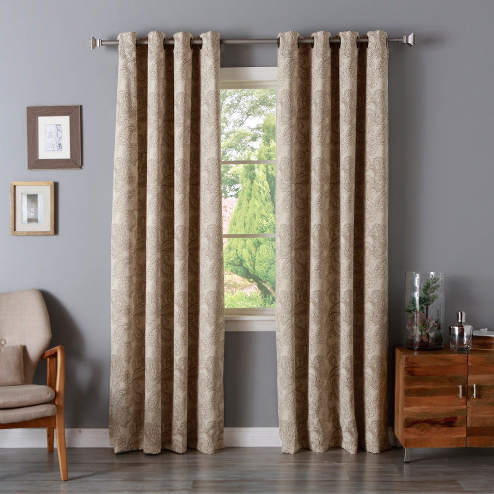Luxury Collection Faux Leather Blackout Single Curtain Panels For Newest Aurora Home Paisley Stitch Printed Blackout Grommet Top Curtain Panel Pair (View 7 of 20)