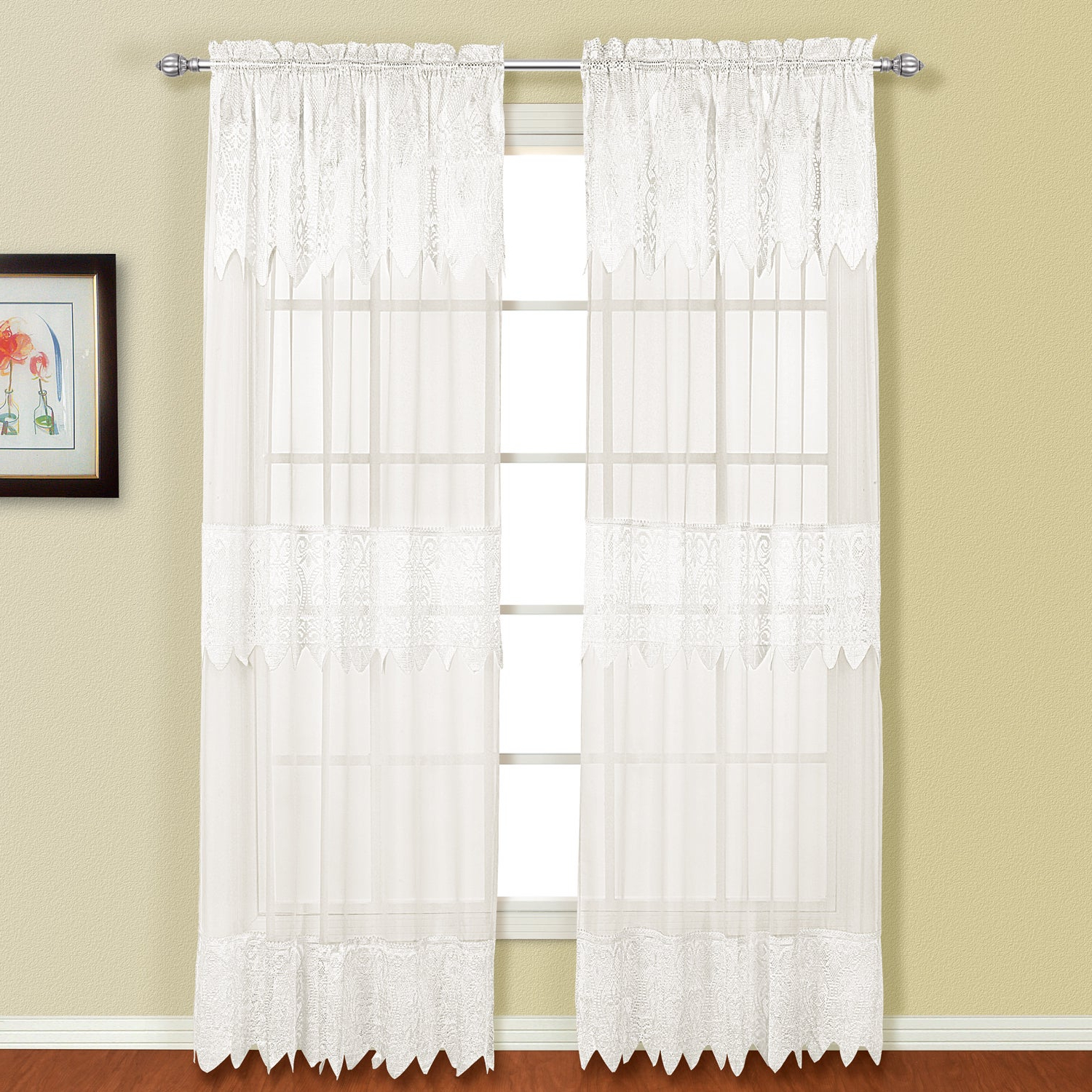 Luxury Collection Venetian Sheer Curtain Panel Pairs Within Well Known Details About Luxury Collection Valerie Semi Sheer Curtain Panel Pair (View 4 of 20)