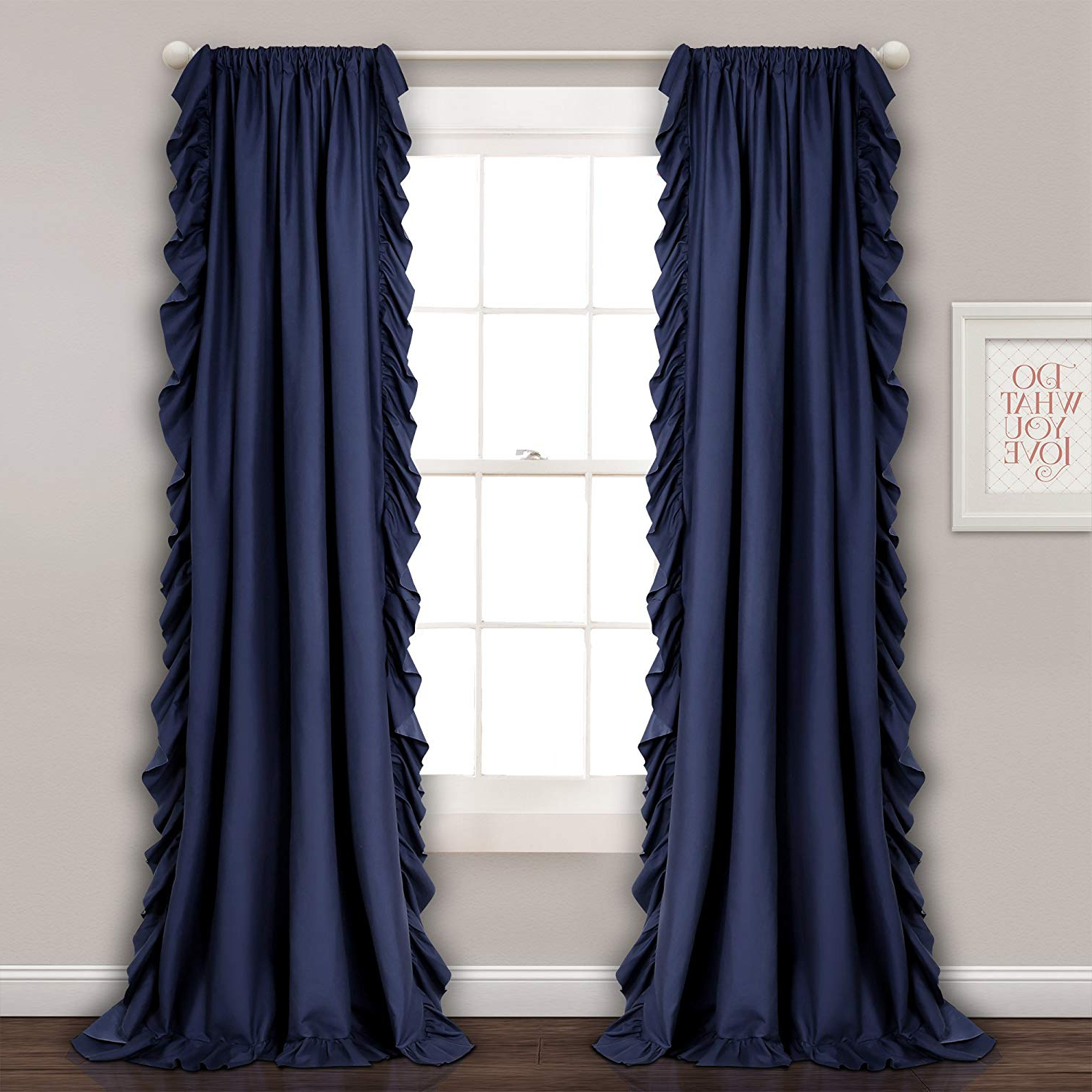 Lydia Ruffle Window Curtain Panel Pairs Regarding Best And Newest Lush Decor Reyna Window Curtain Panel Pair, 54 X 84, Navy (View 12 of 20)