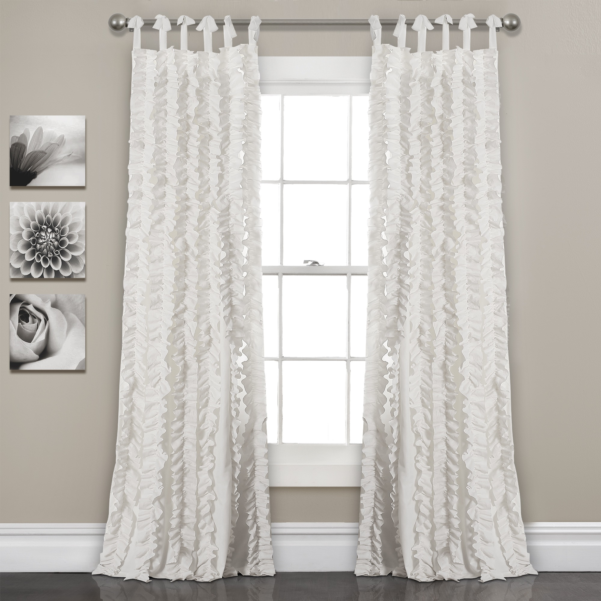 Lydia Ruffle Window Curtain Panel Pairs With Regard To Fashionable White 84'x40' Sophia Ruffle Window Curtain Set (View 19 of 20)