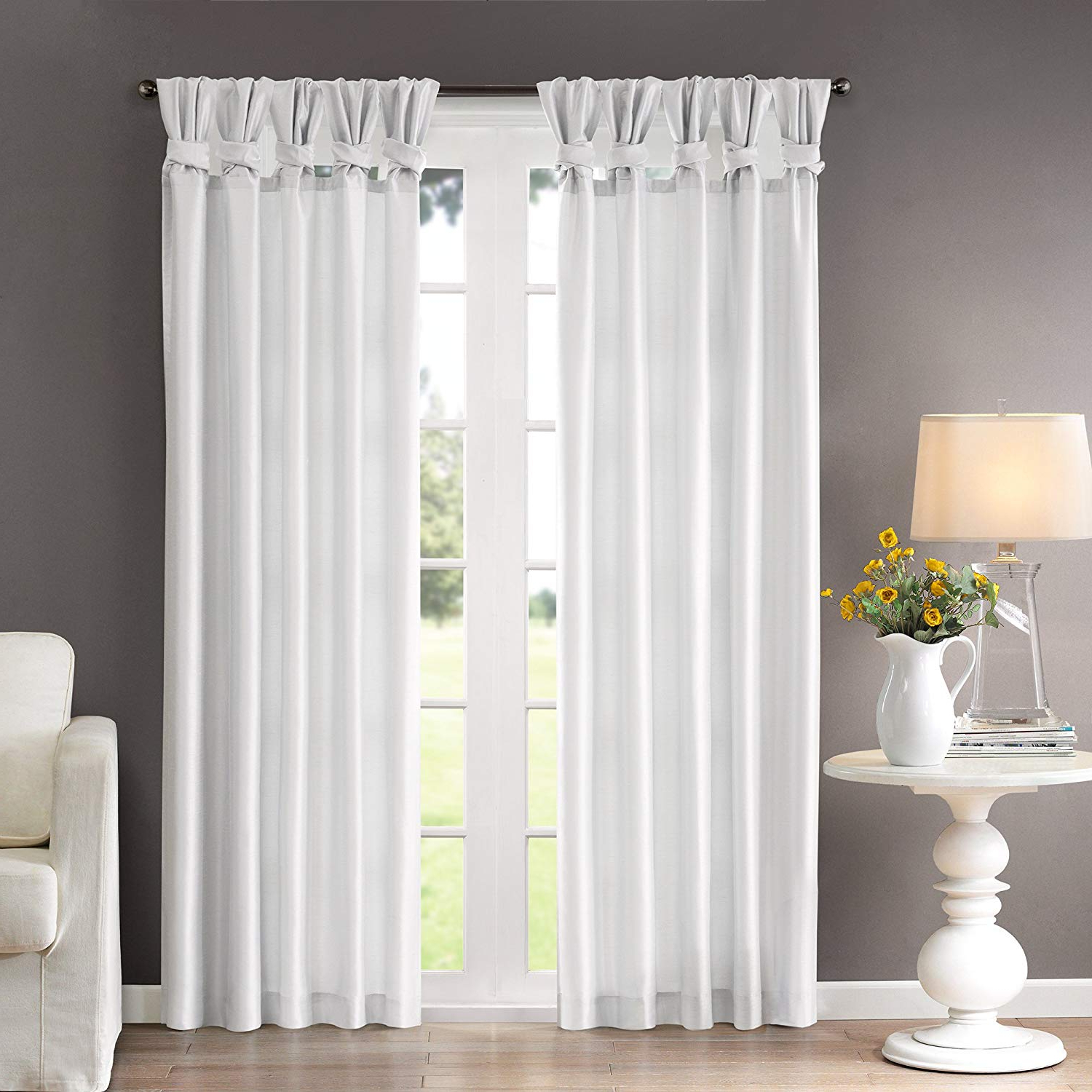 Madison Park Emilia Room Darkening Curtain Diy Twist Tab Window Panel Black Out Drapes For Bedroom And Dorm, 50X95, White For Popular Twisted Tab Lined Single Curtain Panels (View 2 of 20)