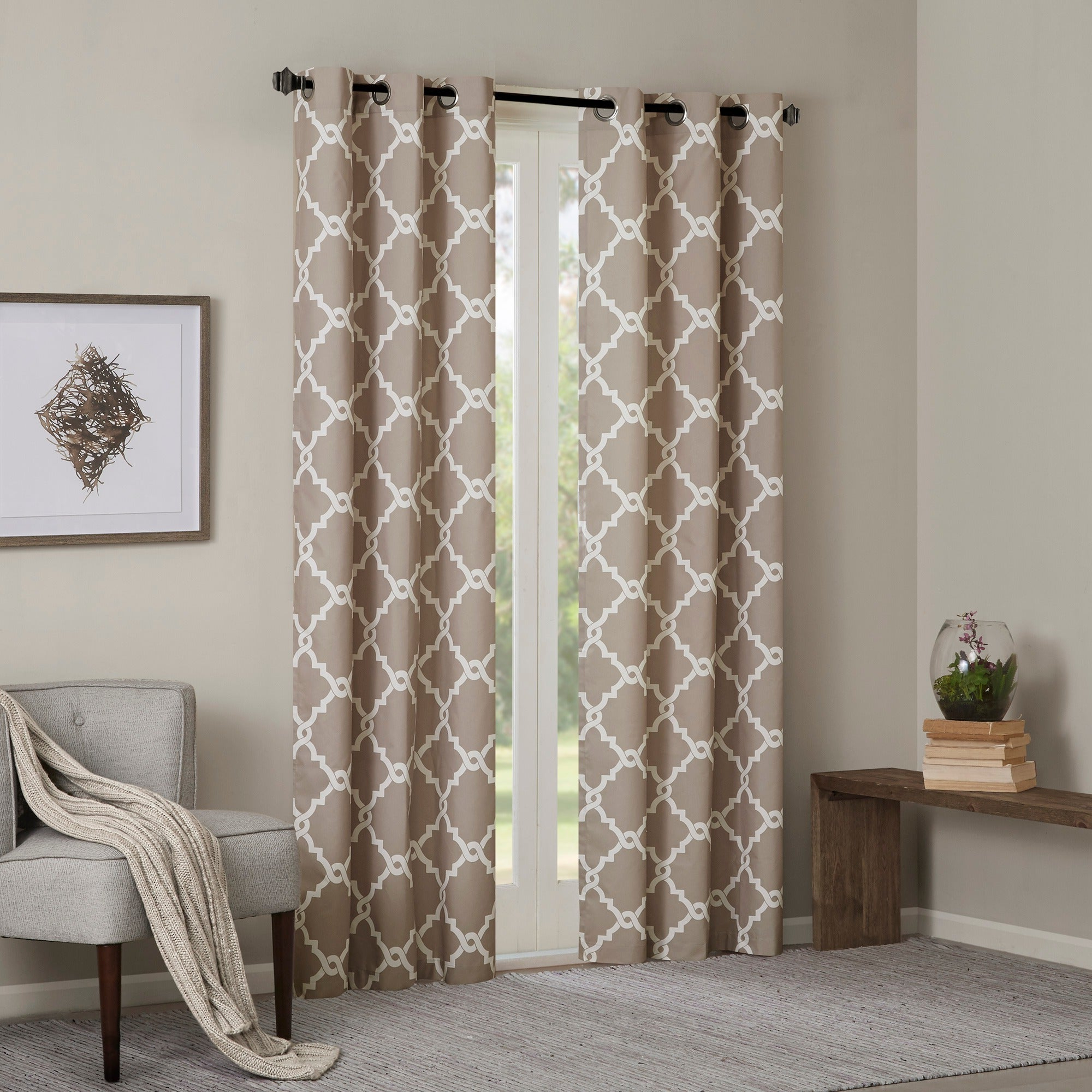 Madison Park Essentials Almaden Fretwork Printed Grommet Top Curtain Panel Pair Pertaining To 2020 Essentials Almaden Fretwork Printed Grommet Top Curtain Panel Pairs (Gallery 1 of 20)