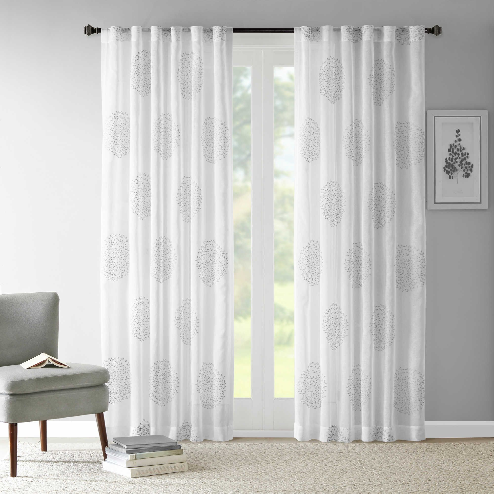 Madison Park Genia Rod Pocket/back Tab Sheer Branch Flocking Regarding Trendy Vina Sheer Bird Single Curtain Panels (View 12 of 20)