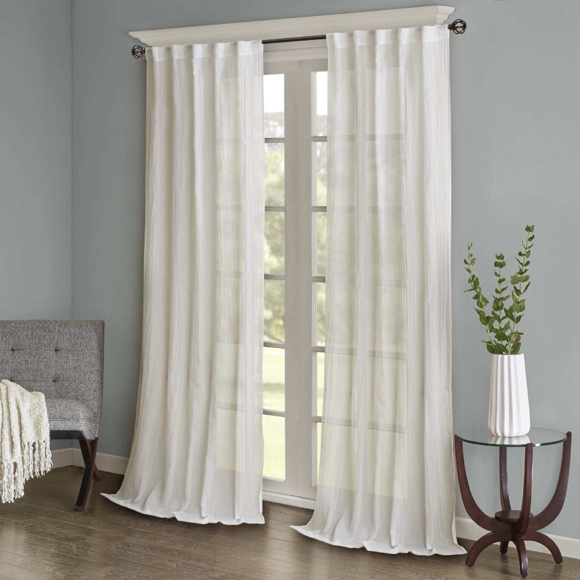 Madison Park Kaylee Solid Crushed Sheer Window Curtain Pair Intended For Recent Kaylee Solid Crushed Sheer Window Curtain Pairs (View 2 of 20)