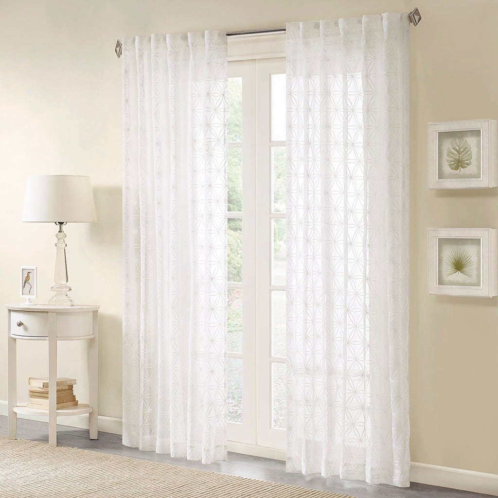 Madison Park Kida Embroidered Sheer Curtain Panel Inside Most Current Kida Embroidered Sheer Curtain Panels (Gallery 2 of 20)