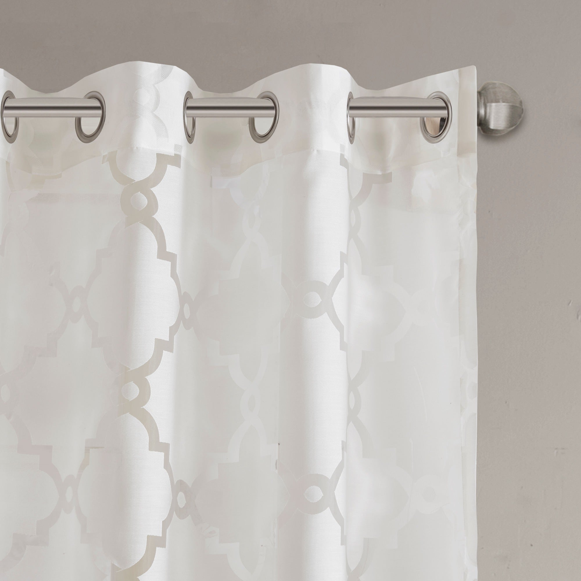 Madison Park Laya Fretwork Burnout Sheer Curtain Panel (as Is Item) In Trendy Laya Fretwork Burnout Sheer Curtain Panels (View 8 of 20)