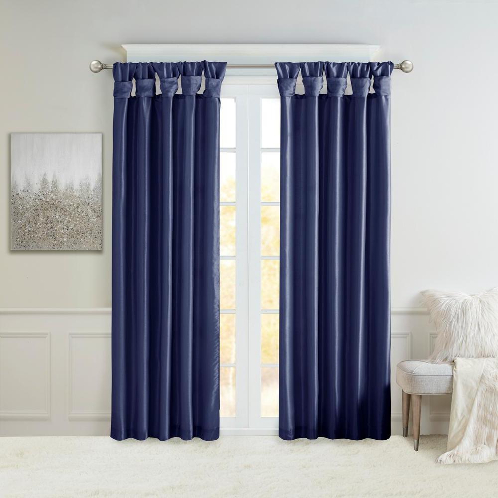 Madison Park Natalie Navy Faux Fur Room Darkening Twist Tab Lined Window Curtain 50 In. W X 120 In (View 11 of 20)
