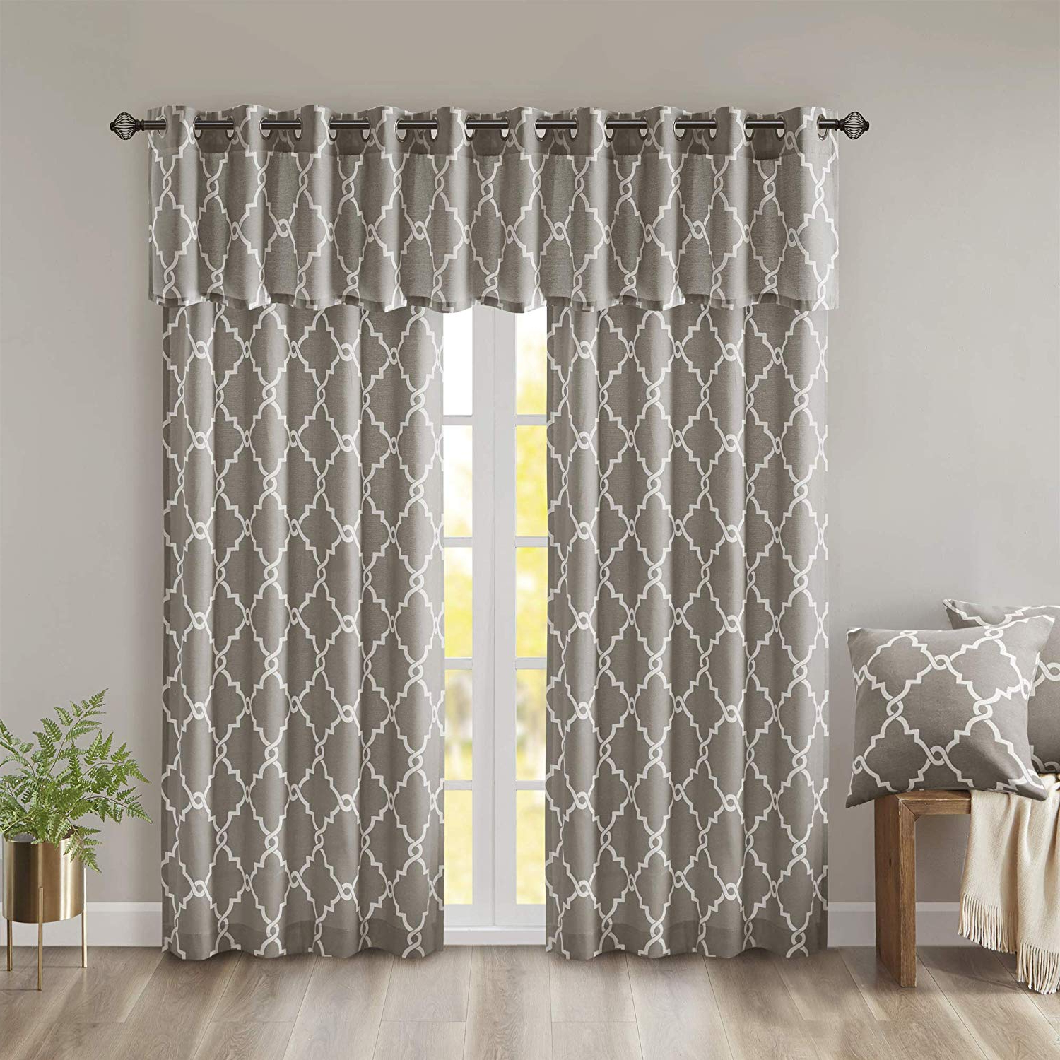 "Madison Park Saratoga Single Window Curtain – Grey – 84"" Panel – 1 Panel  Only Intended For Most Popular Fretwork Print Pattern Single Curtain Panels (Gallery 6 of 20)"