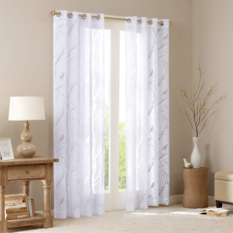 Madison Park Sheer Curtains For Bedroom, Moden Grommet White Sheer Curtains 84 Inches Long, Averil Nature Modern Grommet Sheer Curtain, 50x84, 1 Panel Regarding Most Popular Vina Sheer Bird Single Curtain Panels (View 2 of 20)