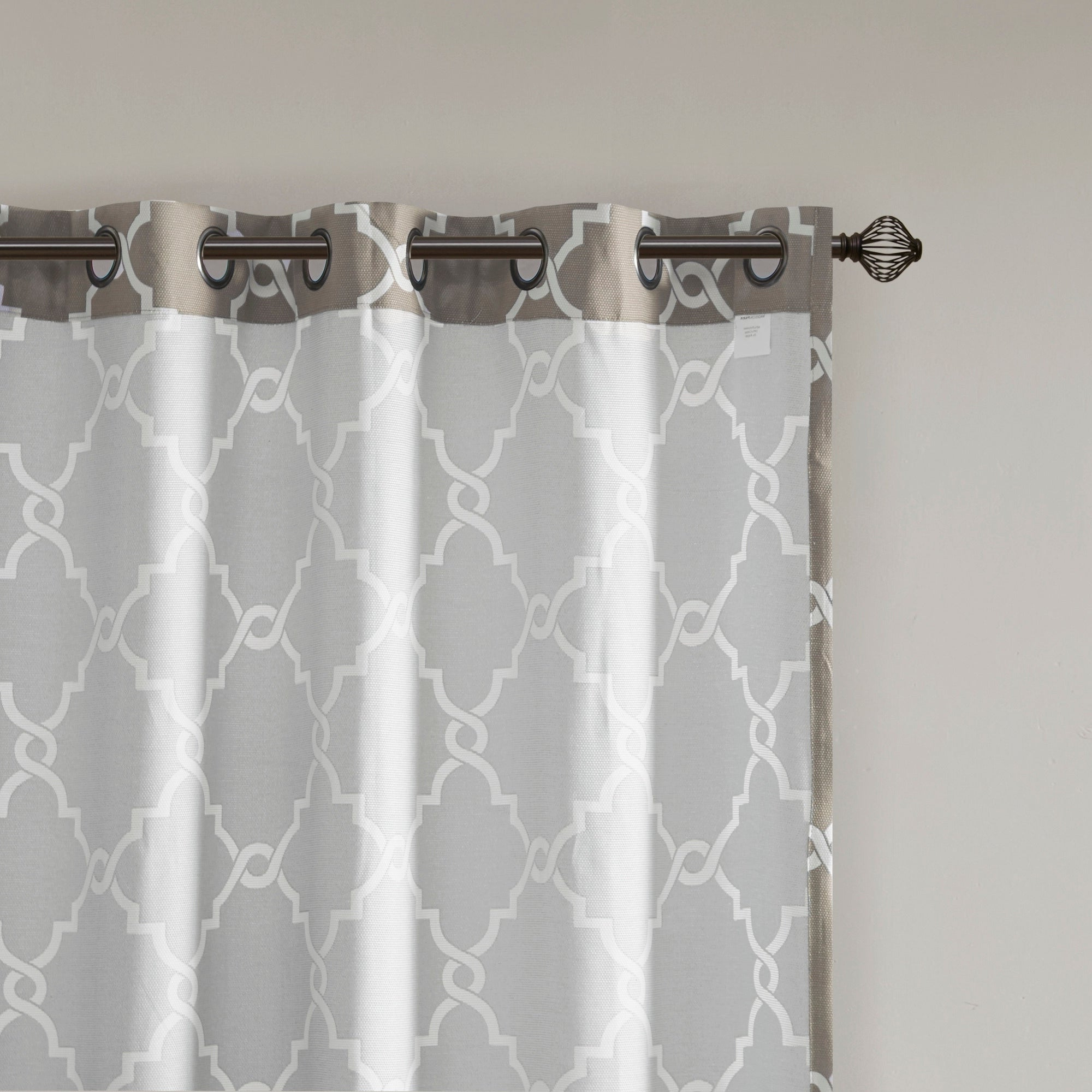 Madison Park Westmont Fretwork Print Pattern Single Curtain Panel Regarding Fashionable Fretwork Print Pattern Single Curtain Panels (Gallery 3 of 20)
