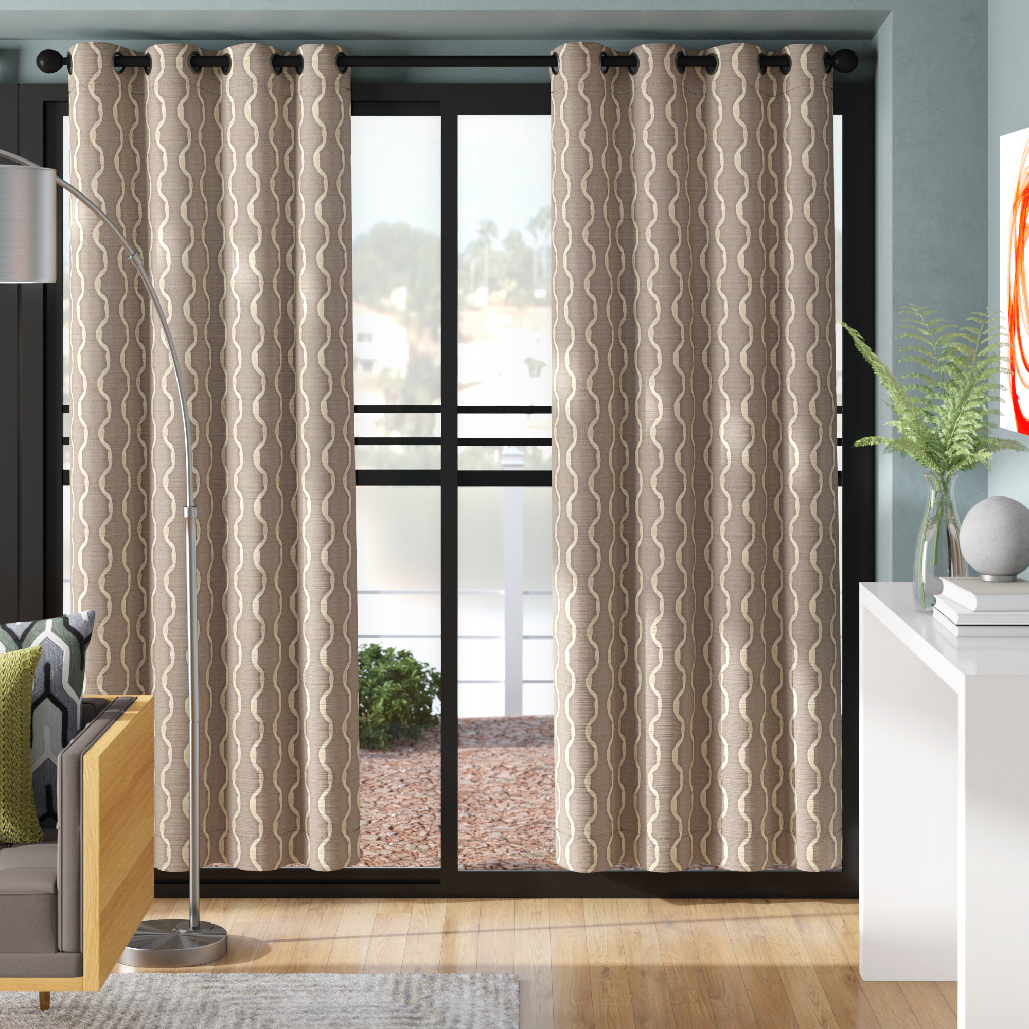 Magana Geometric Semi Sheer Grommet Curtain Panels Pertaining To Most Recently Released Baroque Linen Grommet Top Curtain Panel Pairs (Gallery 17 of 20)