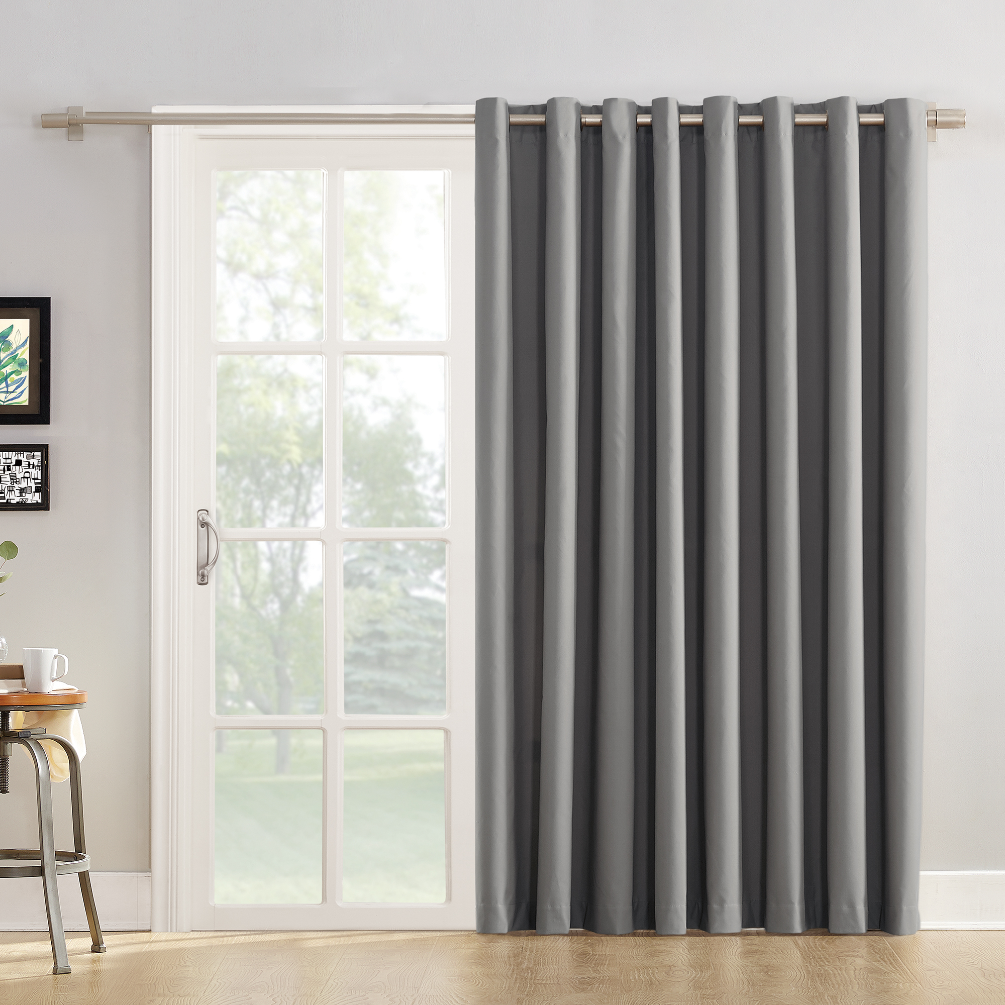 Mainstays Sliding Glass Door Thermal Lined Room Darkening Grommet Curtain  Panel – Walmart Intended For Widely Used Davis Patio Grommet Top Single Curtain Panels (Gallery 9 of 20)