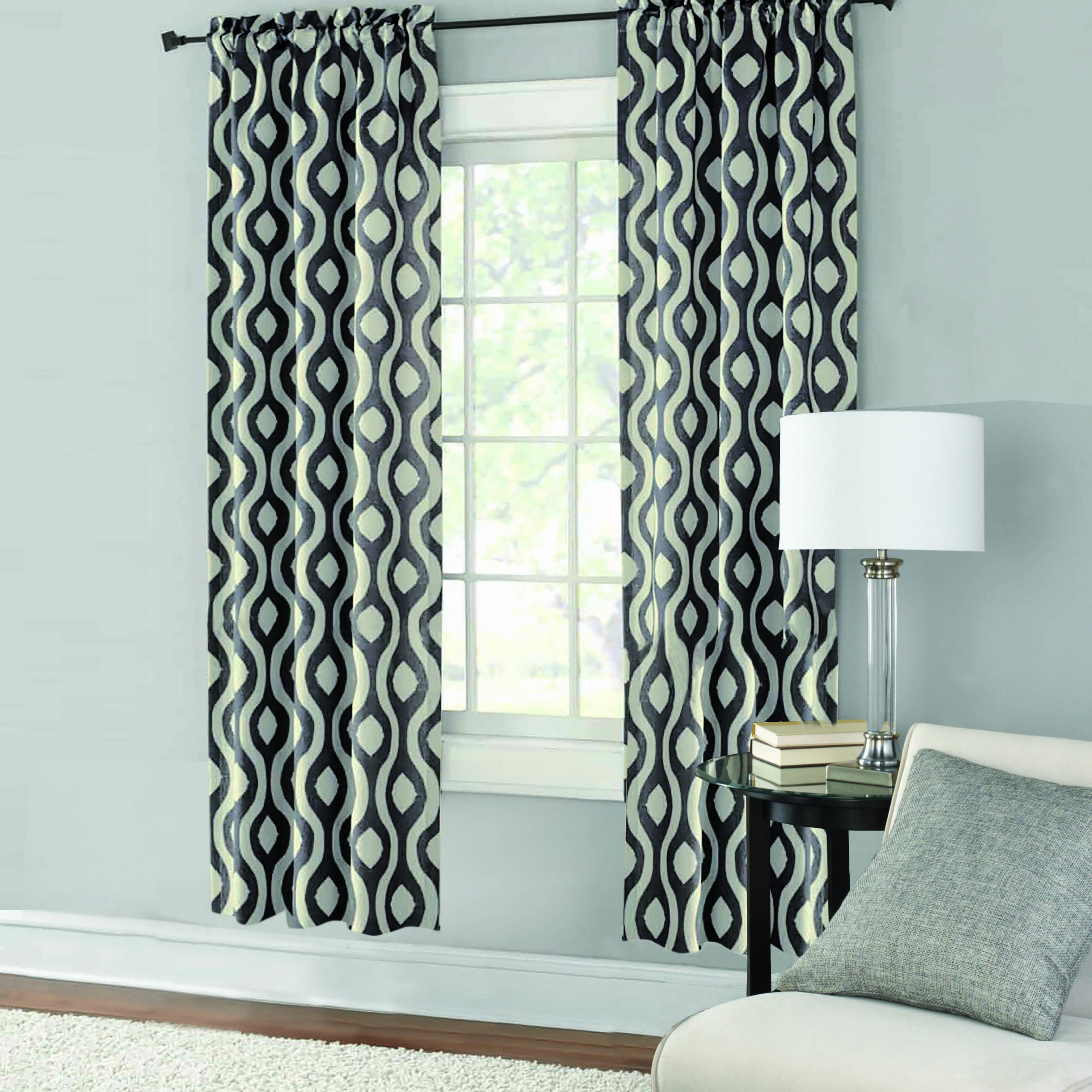 Mainstays Thermal Wave Print Room Darkening Window Curtain Panel Pair Intended For Most Current Room Darkening Window Curtain Panel Pairs (Gallery 1 of 20)