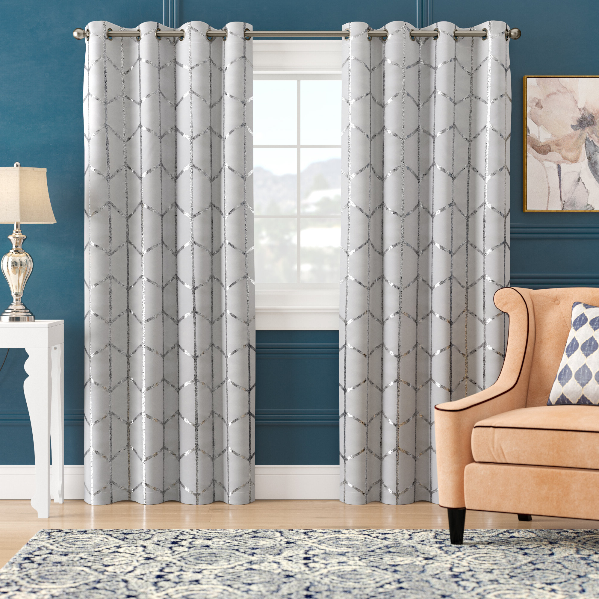 Mangesh Geometric Max Blackout Grommet Single Curtain Panel Regarding Most Popular Total Blackout Metallic Print Grommet Top Curtain Panels (View 18 of 20)