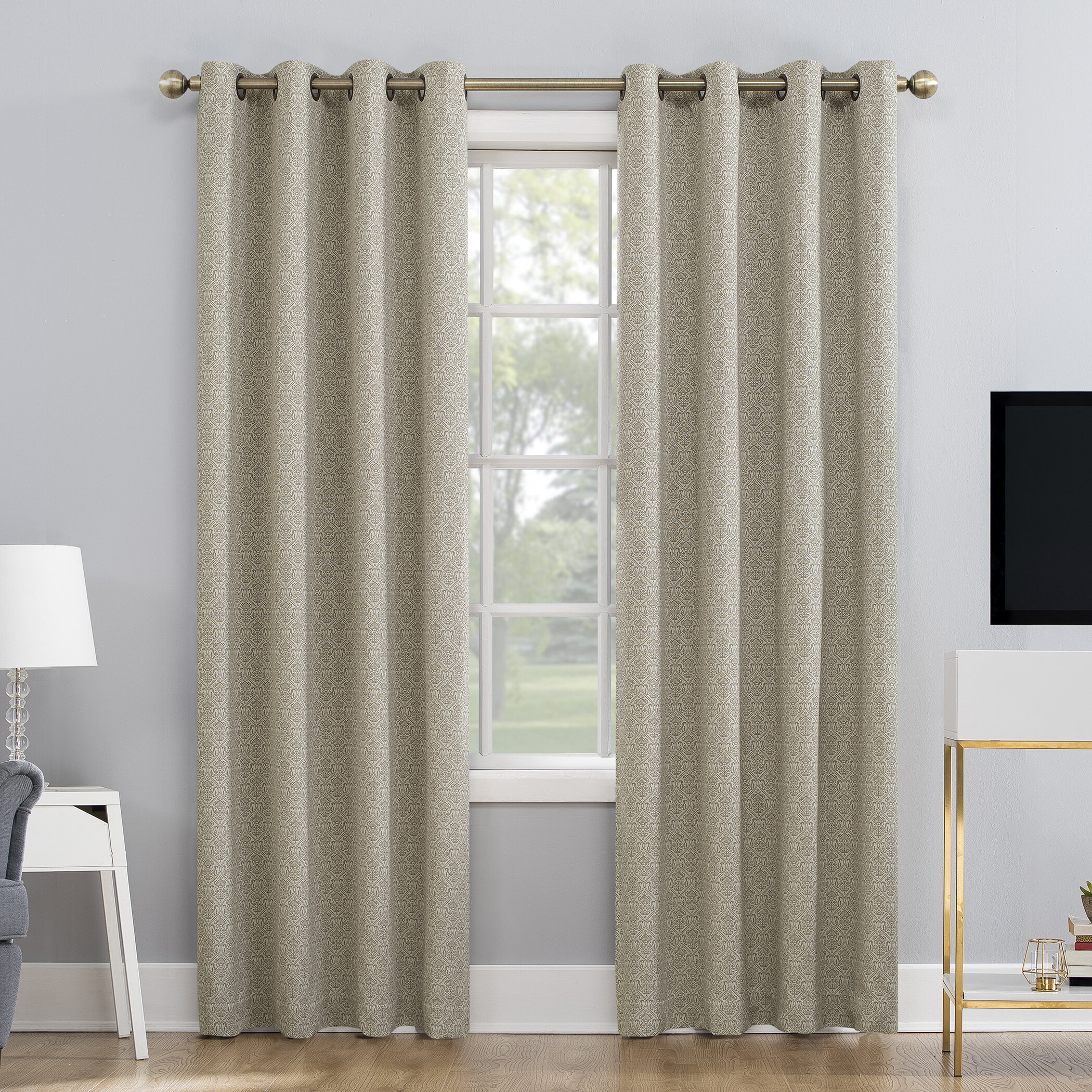 Maritza Jacquard Damask Max Blackout Thermal Grommet Curtain Panels Intended For Well Known Duran Thermal Insulated Blackout Grommet Curtain Panels (View 13 of 21)