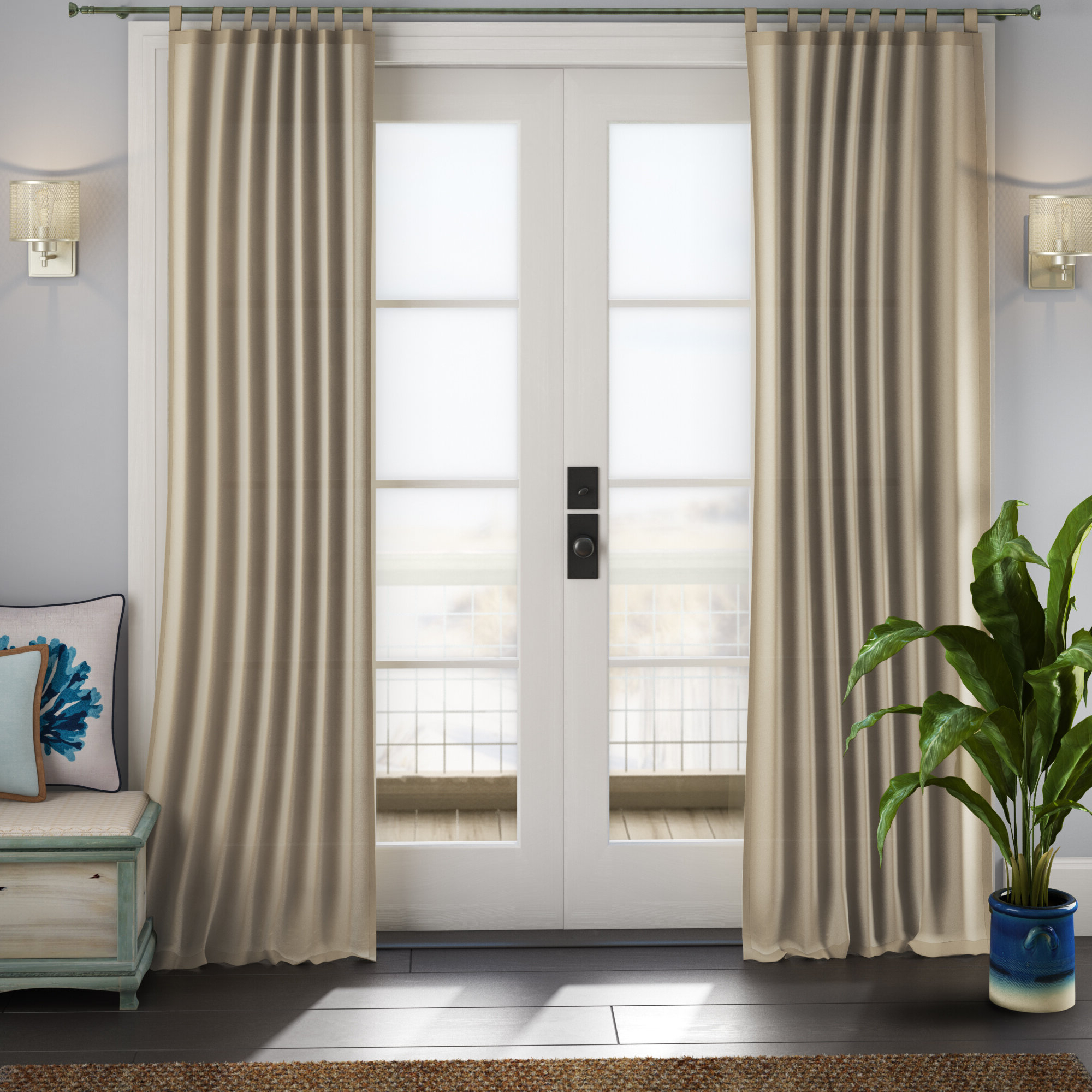 Matine Indoor/outdoor Curtain Panels Pertaining To 2021 Sinead Indoor/outdoor Solid Room Darkening Tab Top Single Curtain Panel (View 13 of 20)