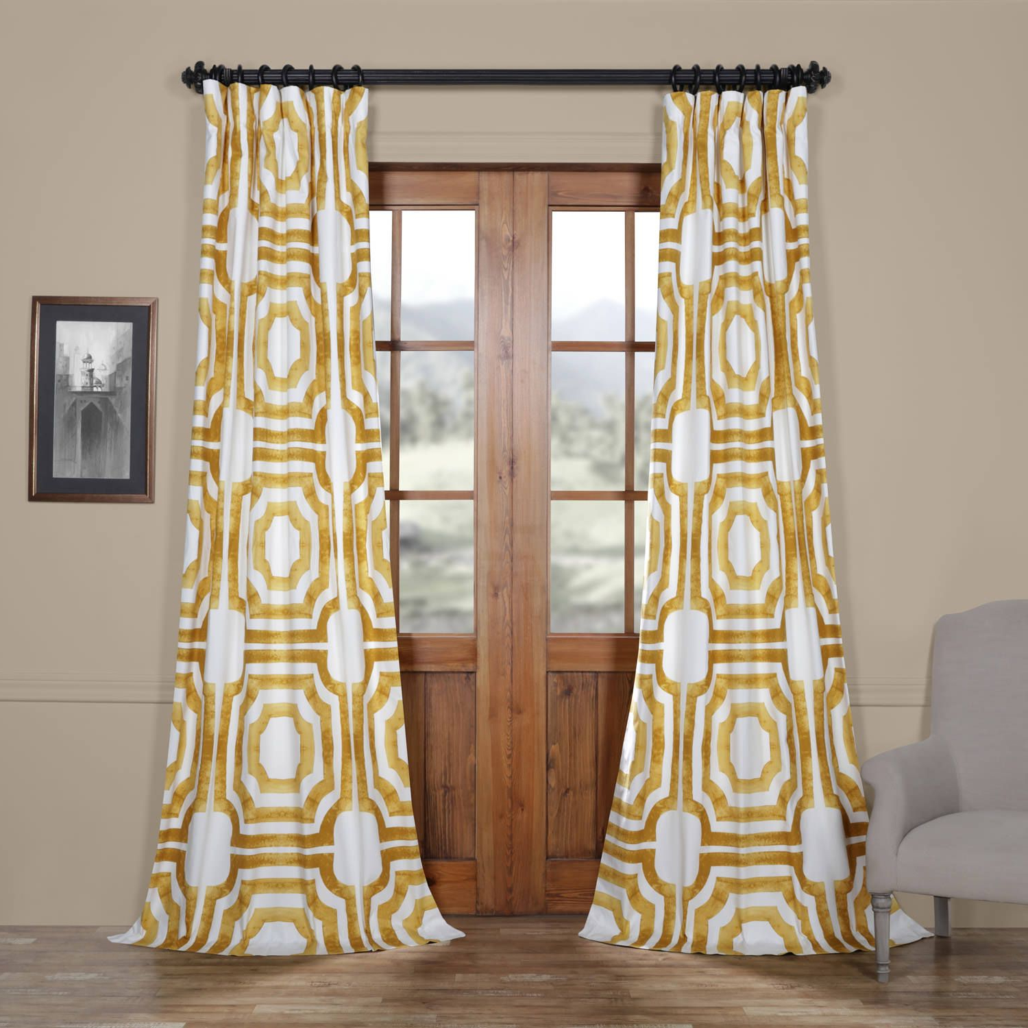 Mecca Gold Printed Cotton Curtain (View 10 of 21)