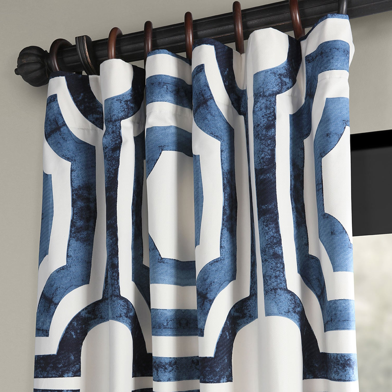 Mecca Printed Cotton Single Curtain Panels Inside Latest Mecca Blue Printed Cotton Curtain (Gallery 11 of 21)