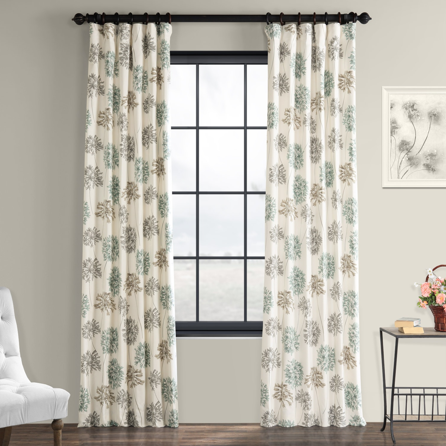 Mecca Printed Cotton Single Curtain Panels Throughout Fashionable Allium Blue Gray Printed Cotton Curtain (View 12 of 21)