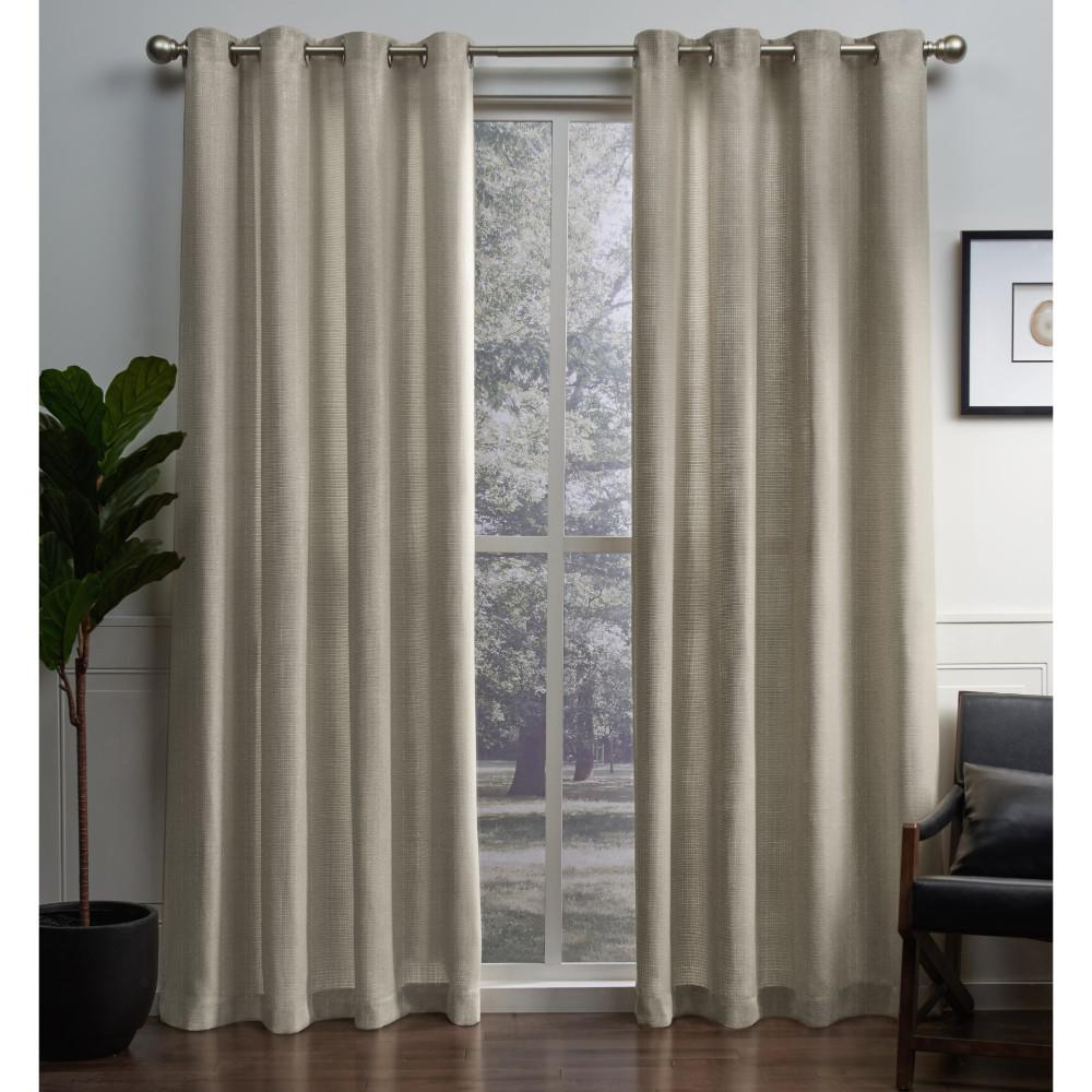 Mecca Printed Cotton Single Curtain Panels With Regard To Preferred Winfield 54 In. W X 84 In. L Metallic Sheen Grommet Top Curtain Panel In Gold (2 Panels) (Gallery 17 of 21)