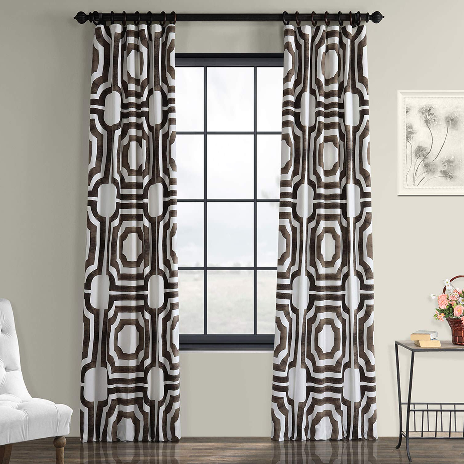 Mecca Printed Cotton Single Curtain Panels With Regard To Recent Half Price Drapes Prtw D23 96 Mecca Printed Cotton Curtain, 50 X 96, Brown (Gallery 3 of 21)