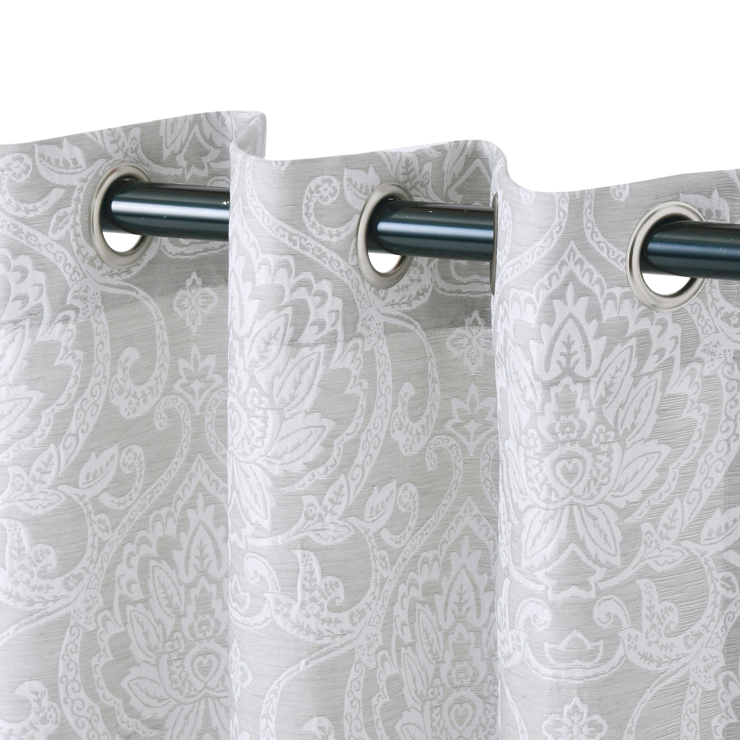 Miranda Haus Hinia Jacquard Grommet Curtain Panel (set Of 2) For Best And Newest Miranda Haus Labrea Damask Jacquard Grommet Curtain Panels (View 16 of 20)