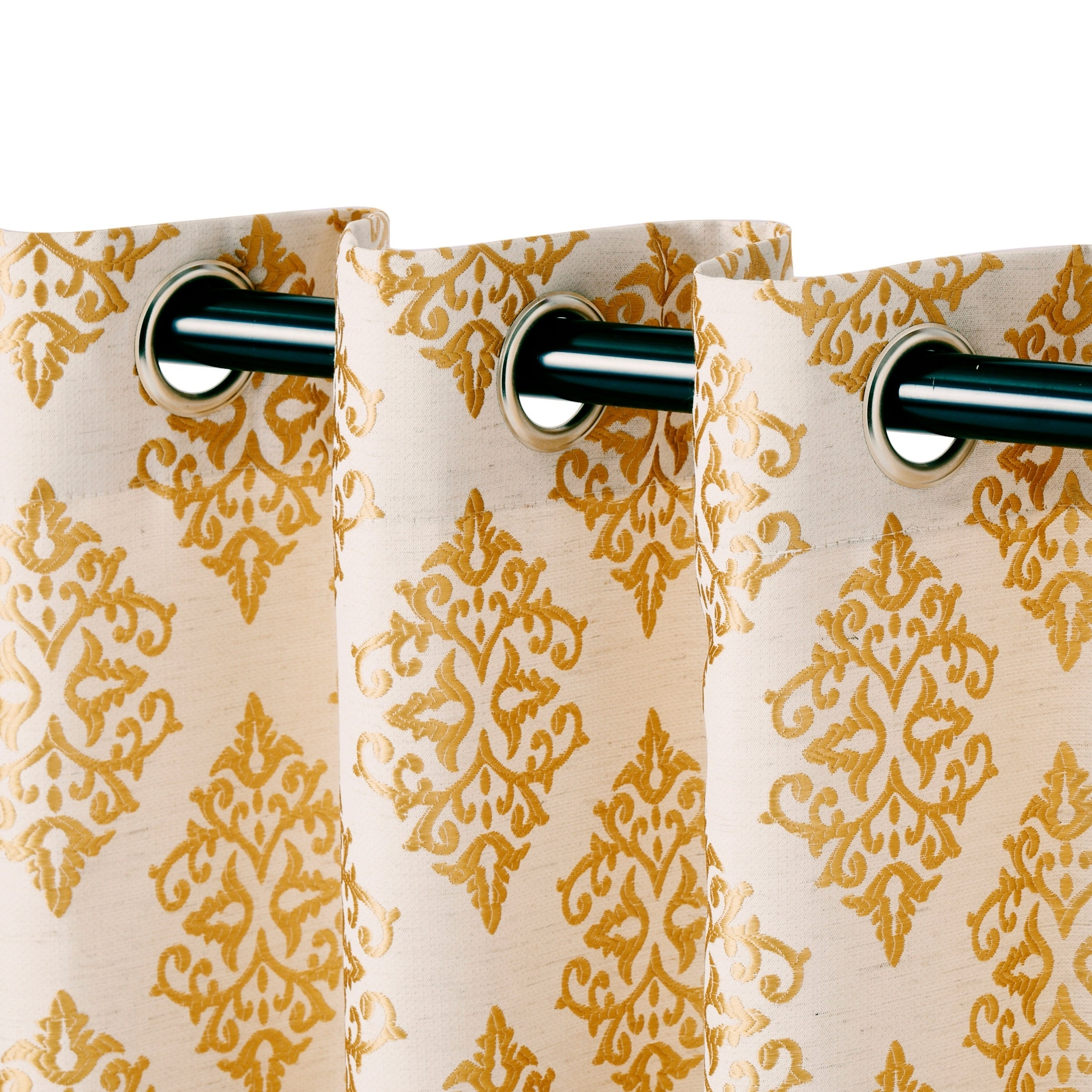 Miranda Haus Labrea Damask Jacquard Grommet Curtain Panel (set Of 2) For Most Recently Released Miranda Haus Labrea Damask Jacquard Grommet Curtain Panels (View 5 of 20)