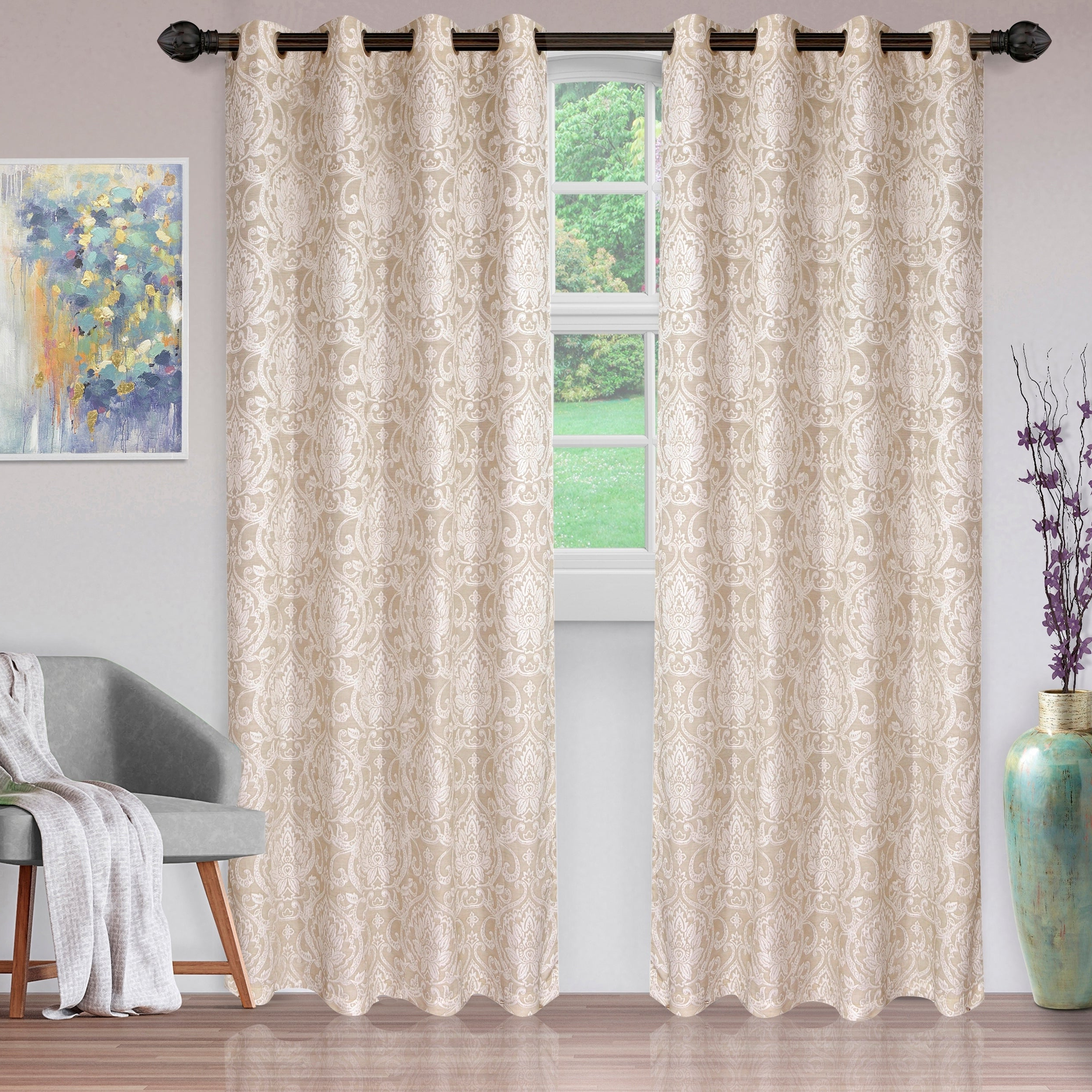 Miranda Haus Labrea Damask Jacquard Grommet Curtain Panels For Fashionable Miranda Haus Hinia Jacquard Grommet Curtain Panel (set Of 2) (View 13 of 20)