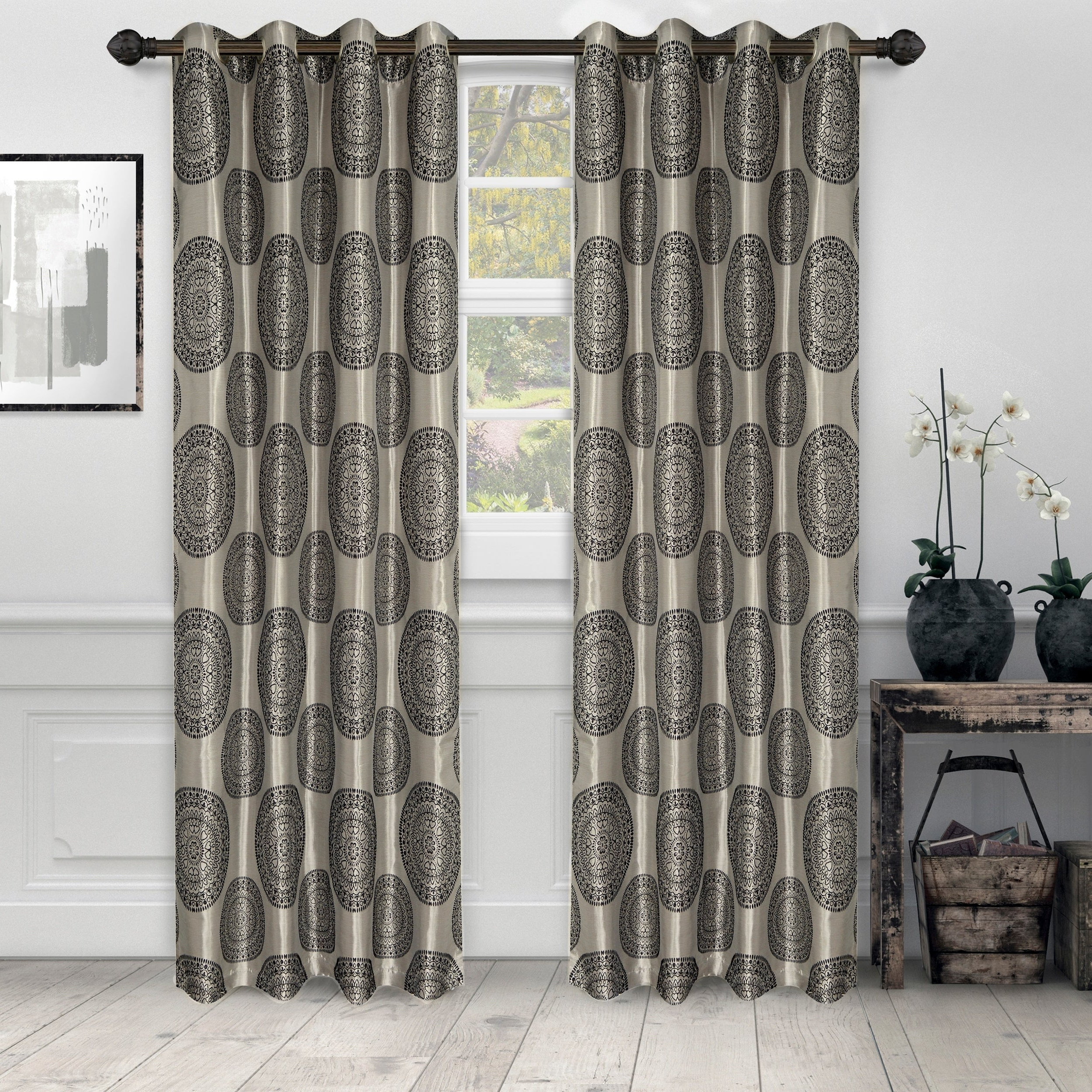 Miranda Haus Labrea Damask Jacquard Grommet Curtain Panels With Regard To 2021 Miranda Haus Elegant Marmore Jacquard Grommet Curtain Panel (set Of 2) (View 15 of 20)