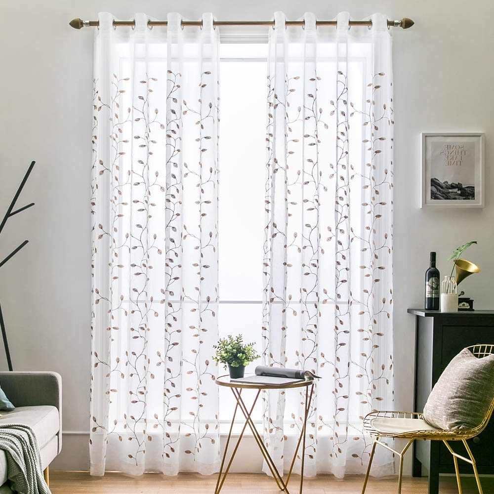 Miulee 2 Panels Brown Leaves Embroidered Sheer Window Curtains Beautiful  Elegance Grommet Spring Feel Window Voile Panels/drape/treatment For  Bedroom For Well Known Wavy Leaves Embroidered Sheer Extra Wide Grommet Curtain Panels (View 13 of 20)