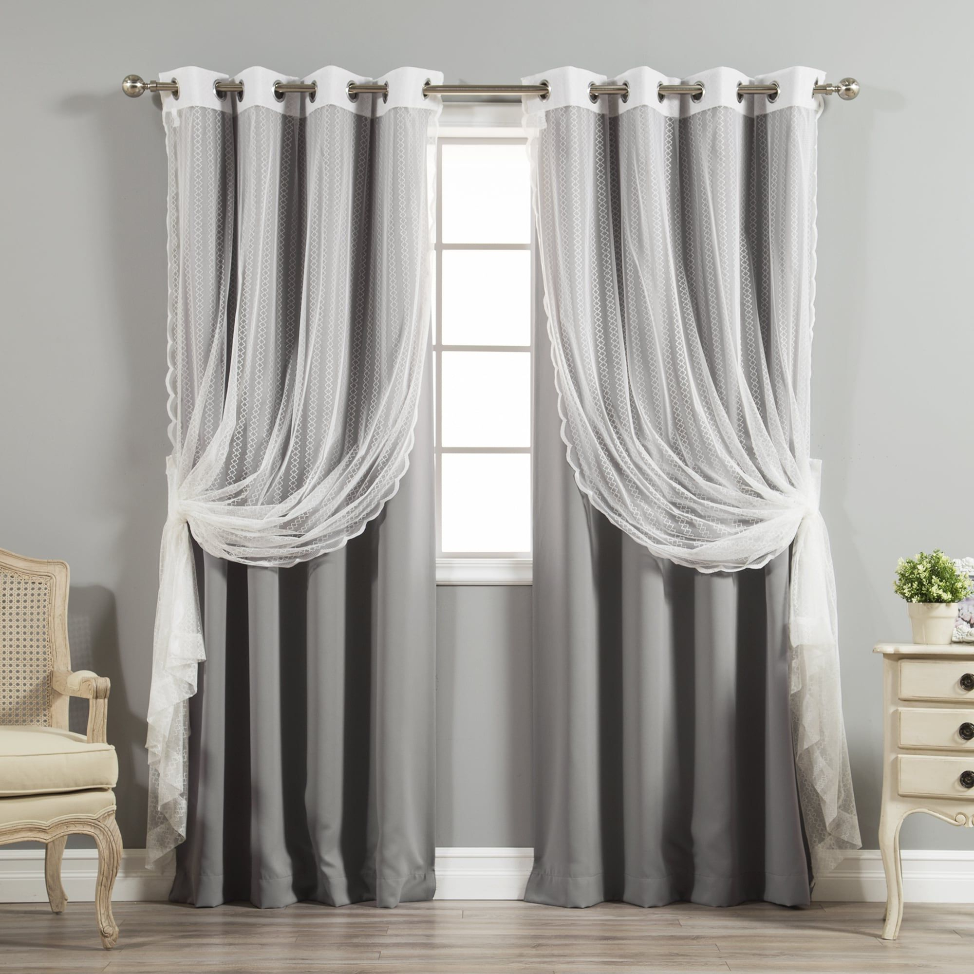 Mix And Match Blackout Blackout Curtains Panel Sets Pertaining To Current Aurora Home Mix And Match Blackout And Zigzag Lace Curtain (Gallery 12 of 20)