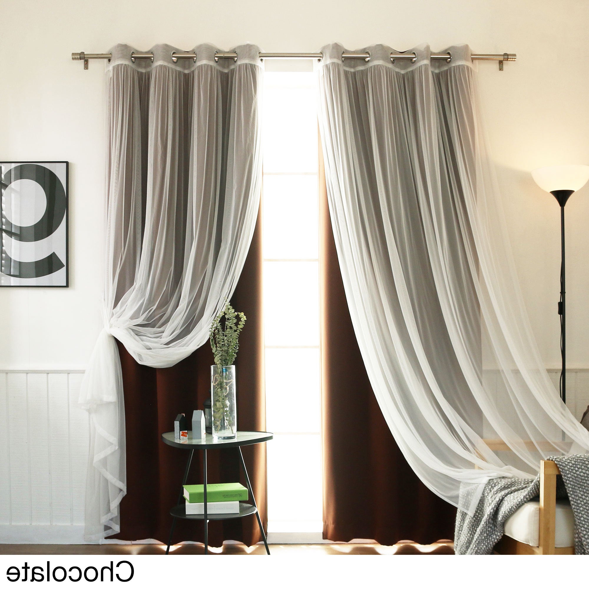 Mix And Match Blackout Tulle Lace Sheer Curtain Panel Sets In Most Popular Aurora Home Mix And Match Blackout Tulle Lace Sheer 4 Piece Curtain Panel Set (Gallery 6 of 20)