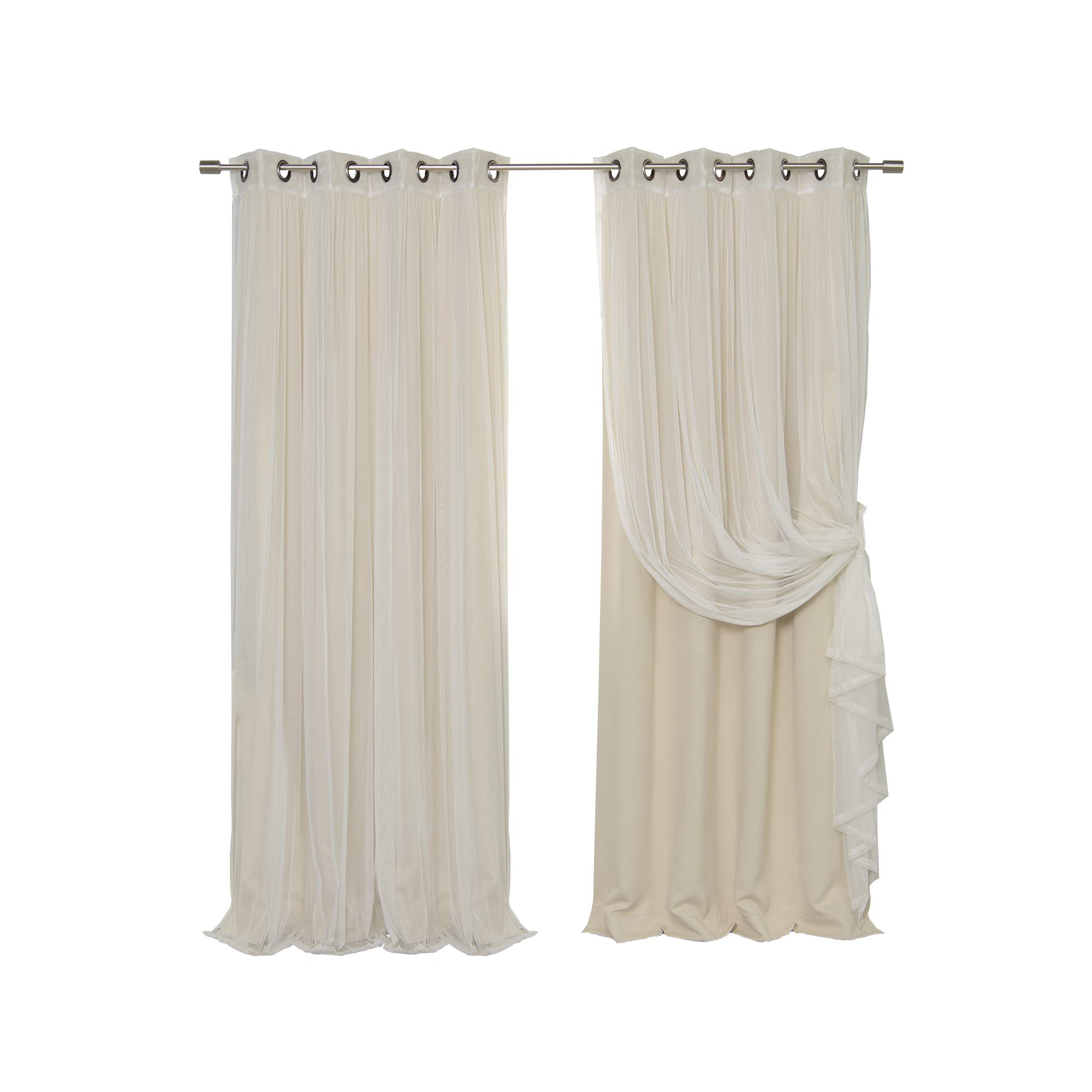 Mix And Match Blackout Tulle Lace Sheer Curtain Panel Sets Inside Widely Used Details About Best Home Fashion Mix Match Tulle Sheer Lace Blackout Curtain  Set – Antique (Gallery 19 of 20)