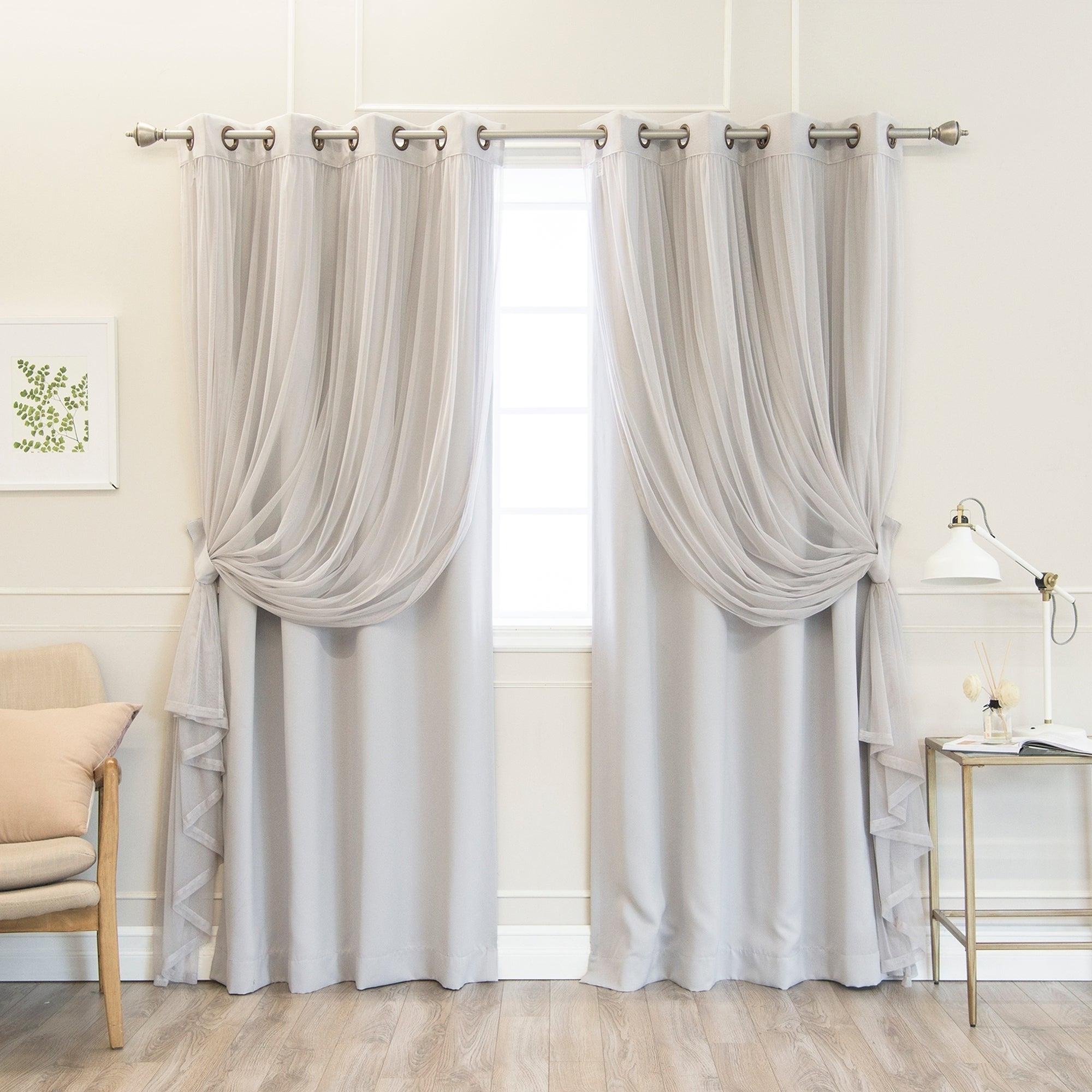 Mix And Match Blackout Tulle Lace Sheer Curtain Panel Sets Within Newest Aurora Home Mix & Match Pastel Tulle Blackout 4 Piece Curtain Panel Set –  N/a (Gallery 13 of 20)