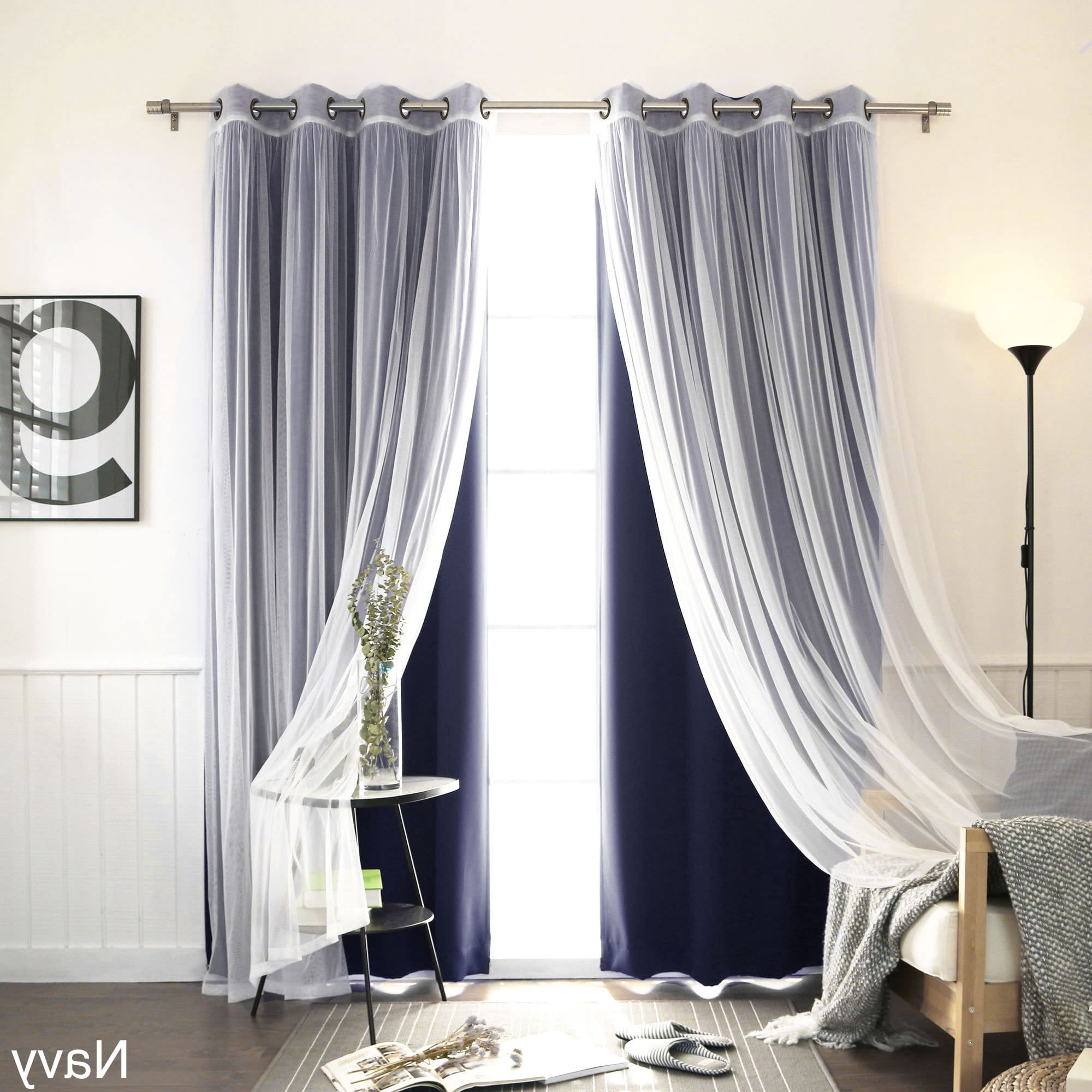 Mix & Match Blackout Tulle Lace Bronze Grommet Curtain Panel Sets For Most Popular Aurora Home Mix & Match Blackout Tulle Lace Bronze Grommet (View 4 of 20)