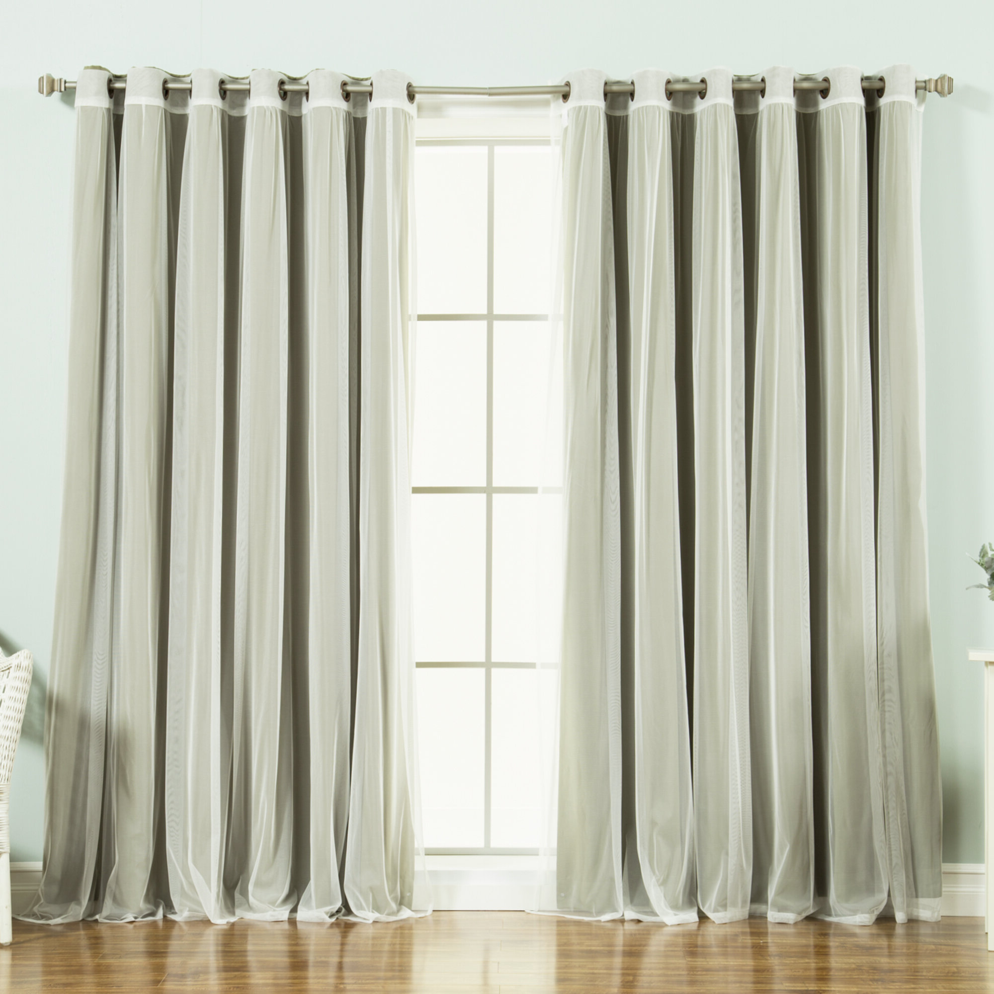 Mix & Match Blackout Tulle Lace Bronze Grommet Curtain Panel Sets Inside Well Known Brunilda Solid Blackout Thermal Grommet Curtain Panels (View 19 of 20)