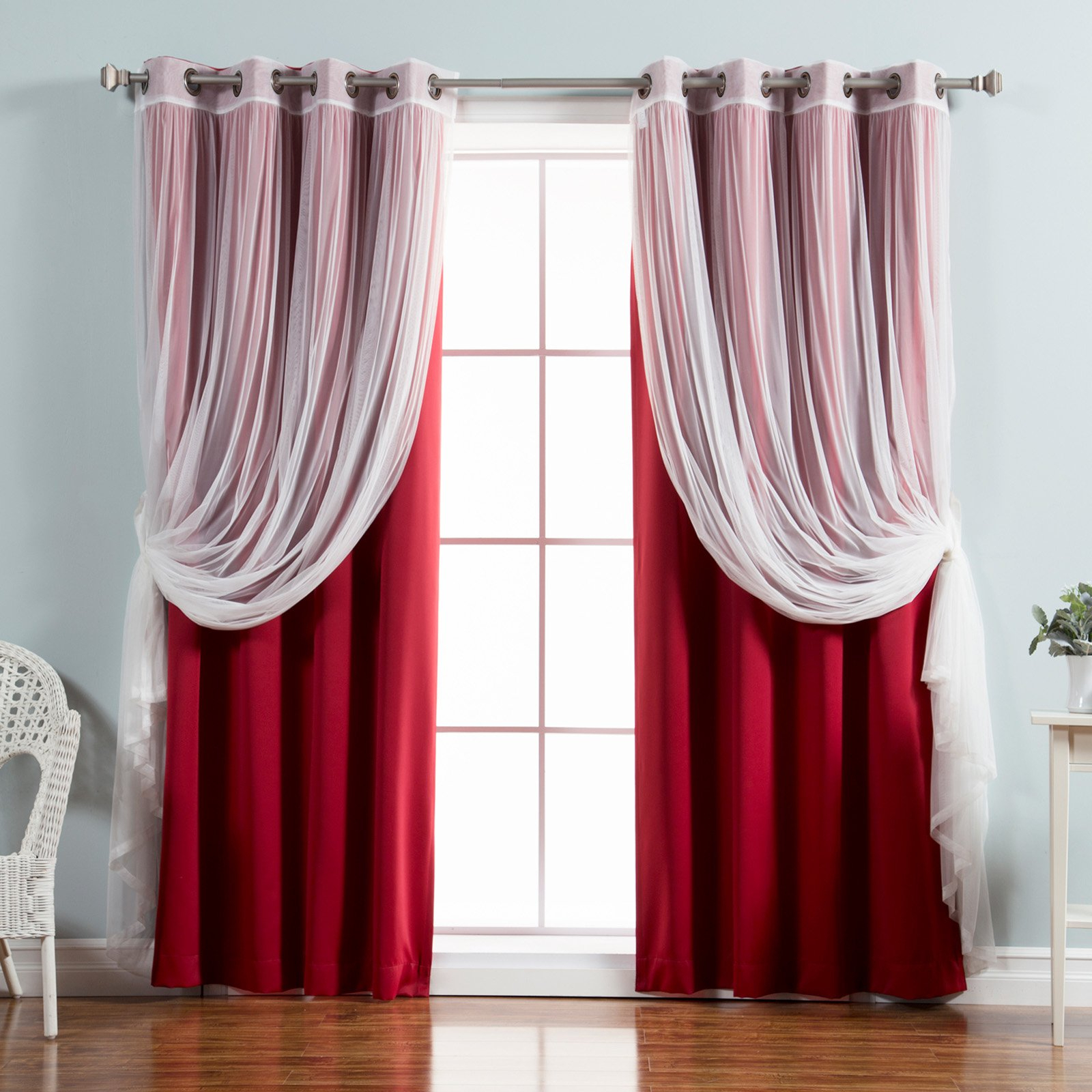 Mix & Match Blackout Tulle Lace Bronze Grommet Curtain Panel Sets Throughout Trendy Best Home Fashion Mix & Match Tulle Sheer Lace Blackout Curtain – Set Of (View 15 of 20)