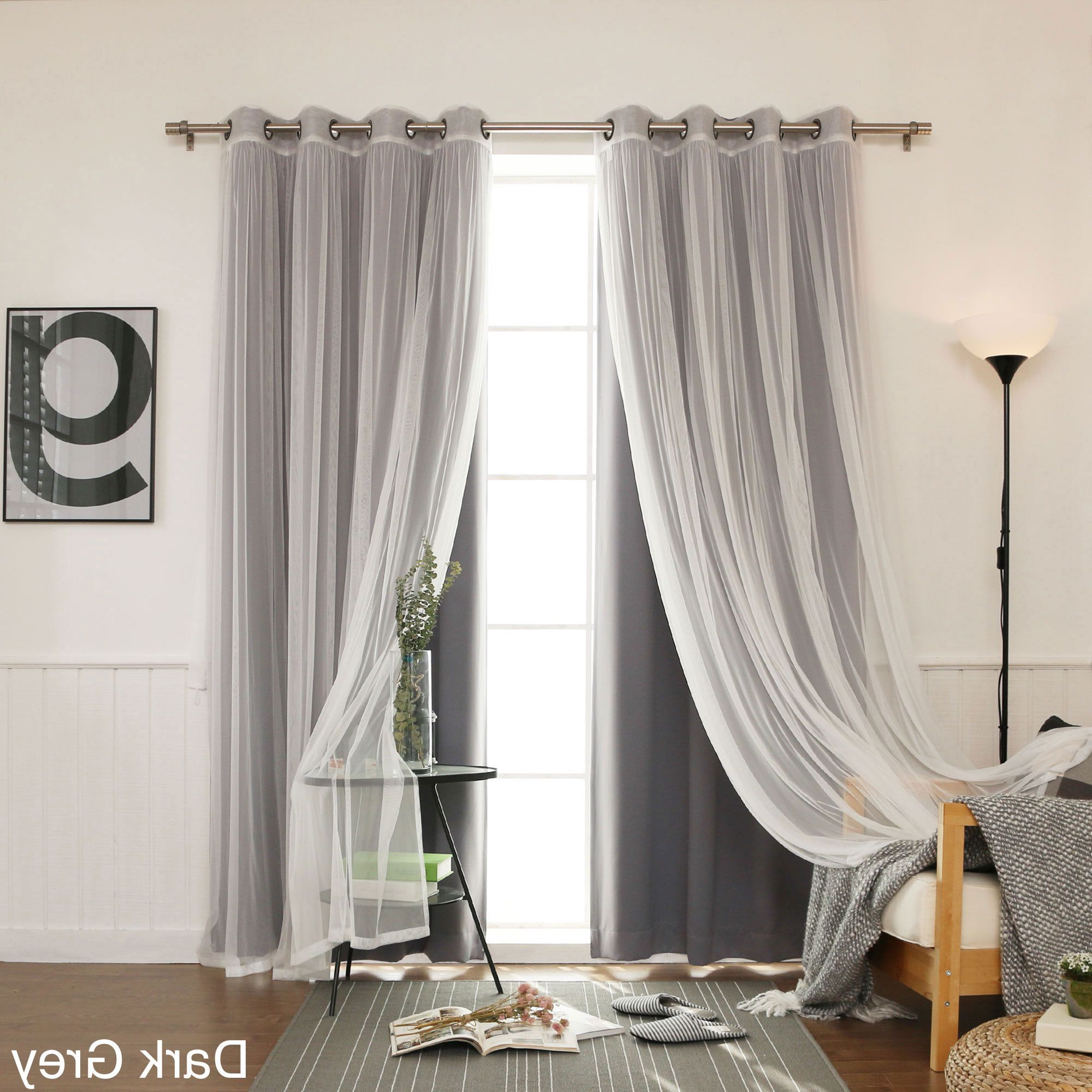 Mix & Match Blackout Tulle Lace Bronze Grommet Curtain Panel Sets With Well Known Aurora Home Mix & Match Curtains Blackout Tulle Lace Sheer (Gallery 3 of 20)