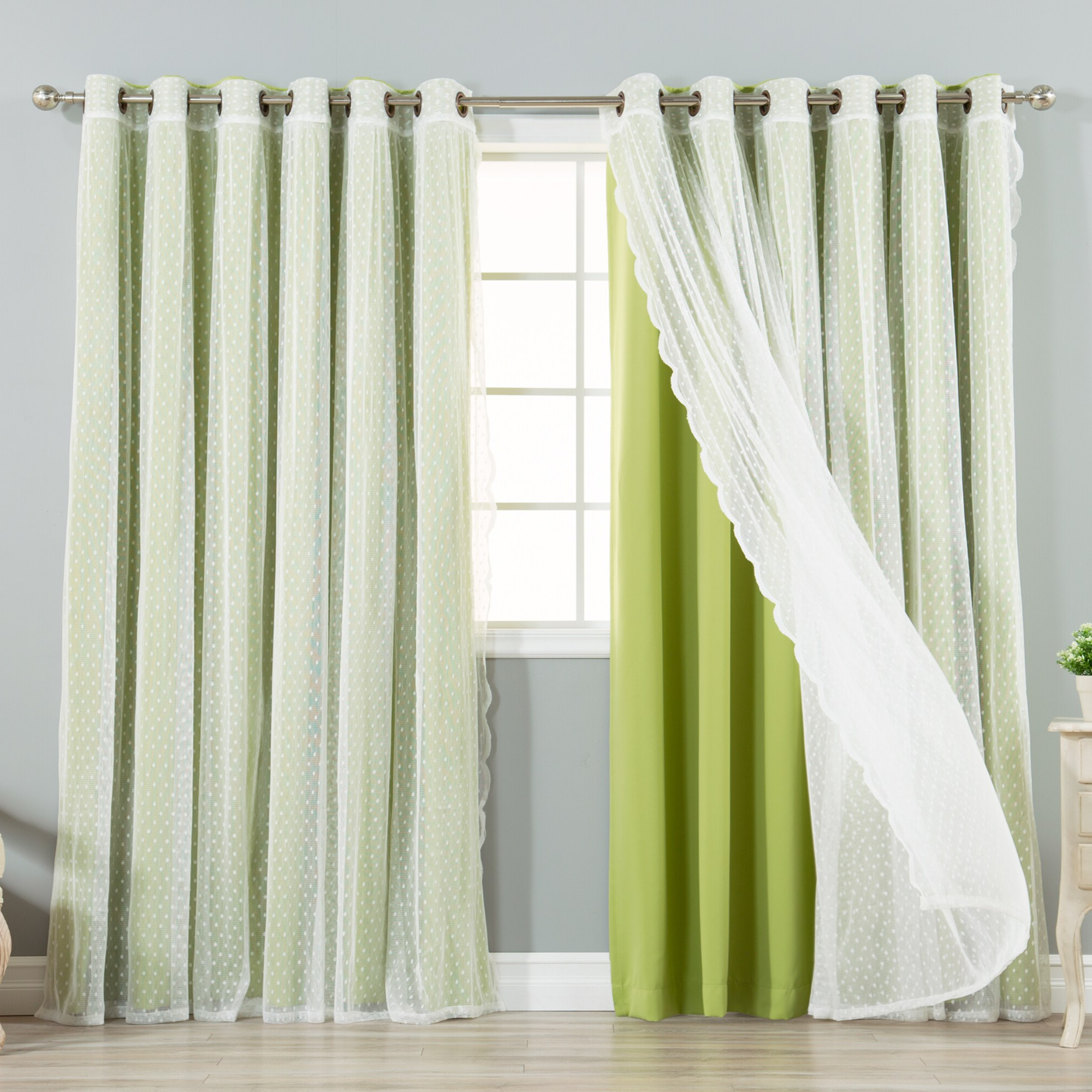 """Mix & Match Extra Wide Blackout And Dot Lace Sheer 2 Piece Curtain Panel Set – 52""""w X 84""""l Within Widely Used Mix And Match Blackout Tulle Lace Sheer Curtain Panel Sets (View 12 of 20)"""