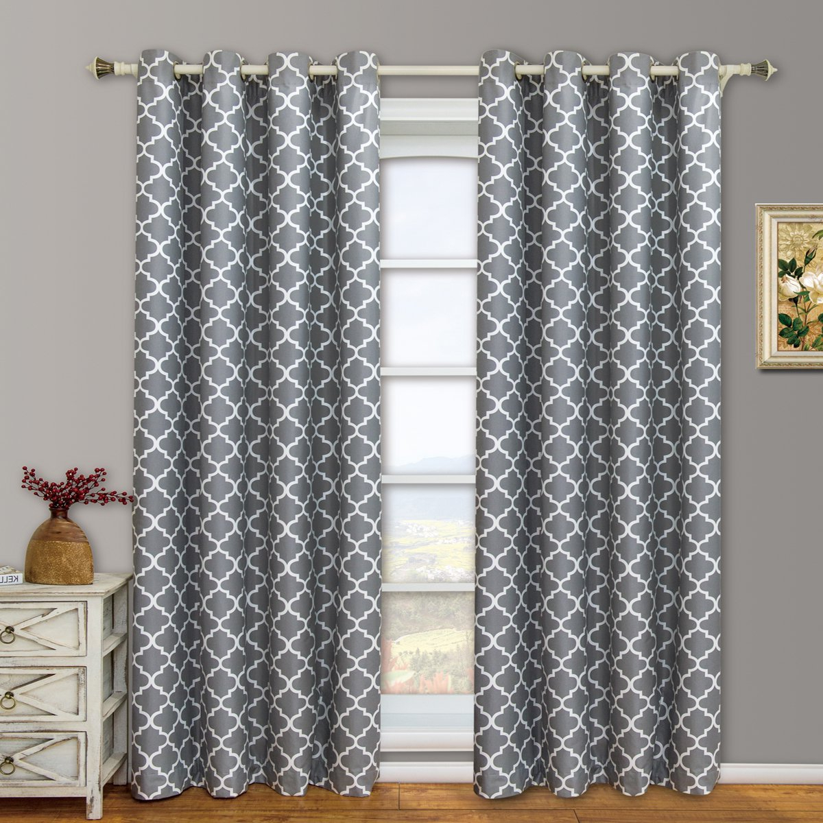 "Modern & Elegant Meridian Blackout Top Grommet Thermal Insulated Window Curtain Set Of Two Panels, Grey, Set Of Two 52""63"" Panels (104"" X 63"") Inside Popular Meridian Blackout Window Curtain Panels (Gallery 5 of 20)"