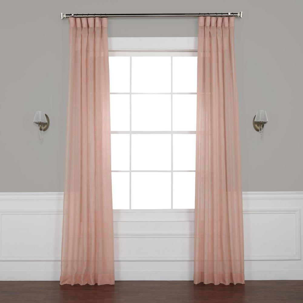 Montpellier Striped Linen Sheer Curtains For Widely Used Exclusive Fabrics & Furnishings Bashful Pink Solid Faux Linen Sheer Curtain – 50 In. W X 108 In. L (Gallery 16 of 20)